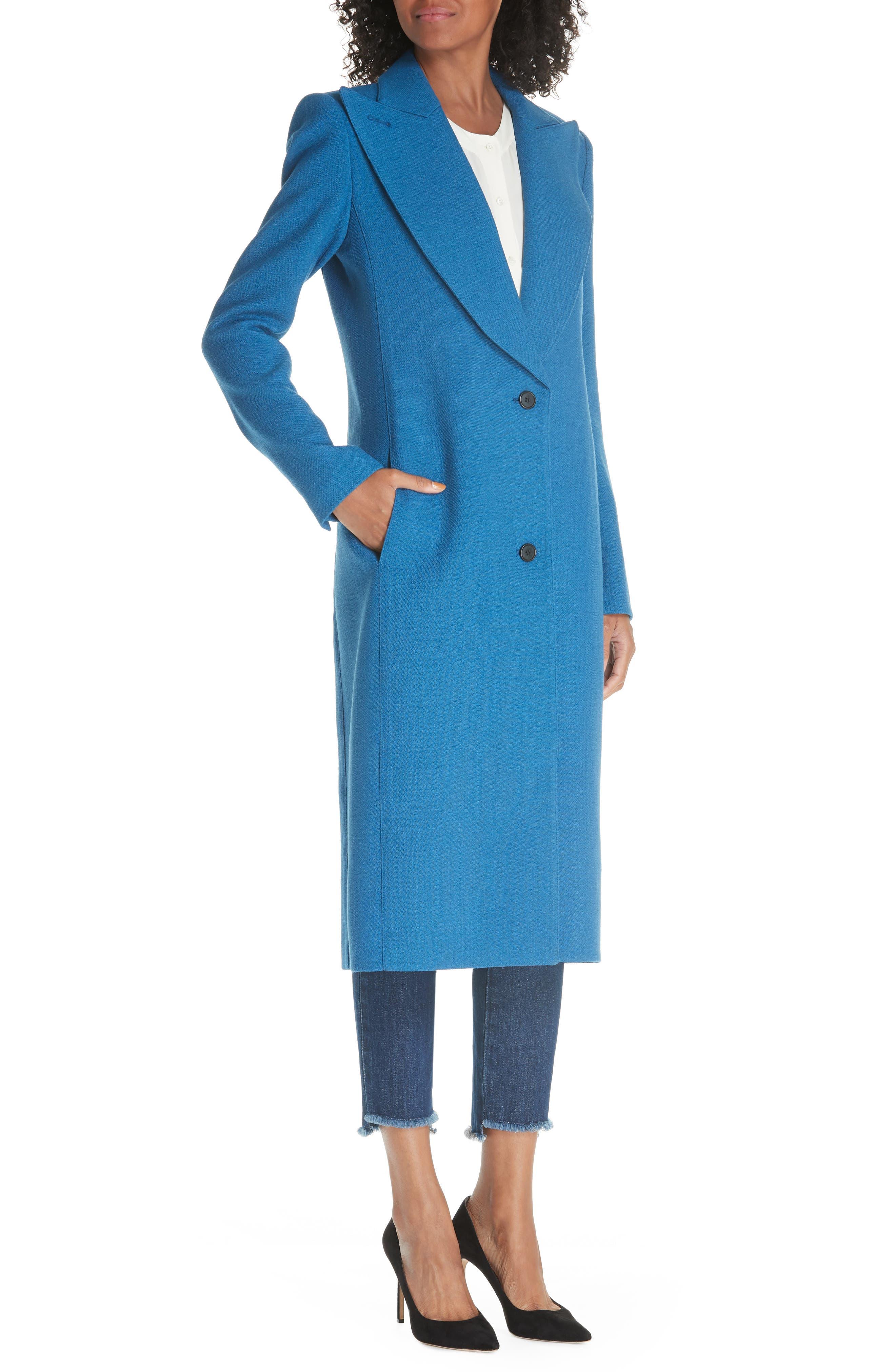 Peaked Lapel Wool Blend Coat,                             Alternate thumbnail 4, color,                             470