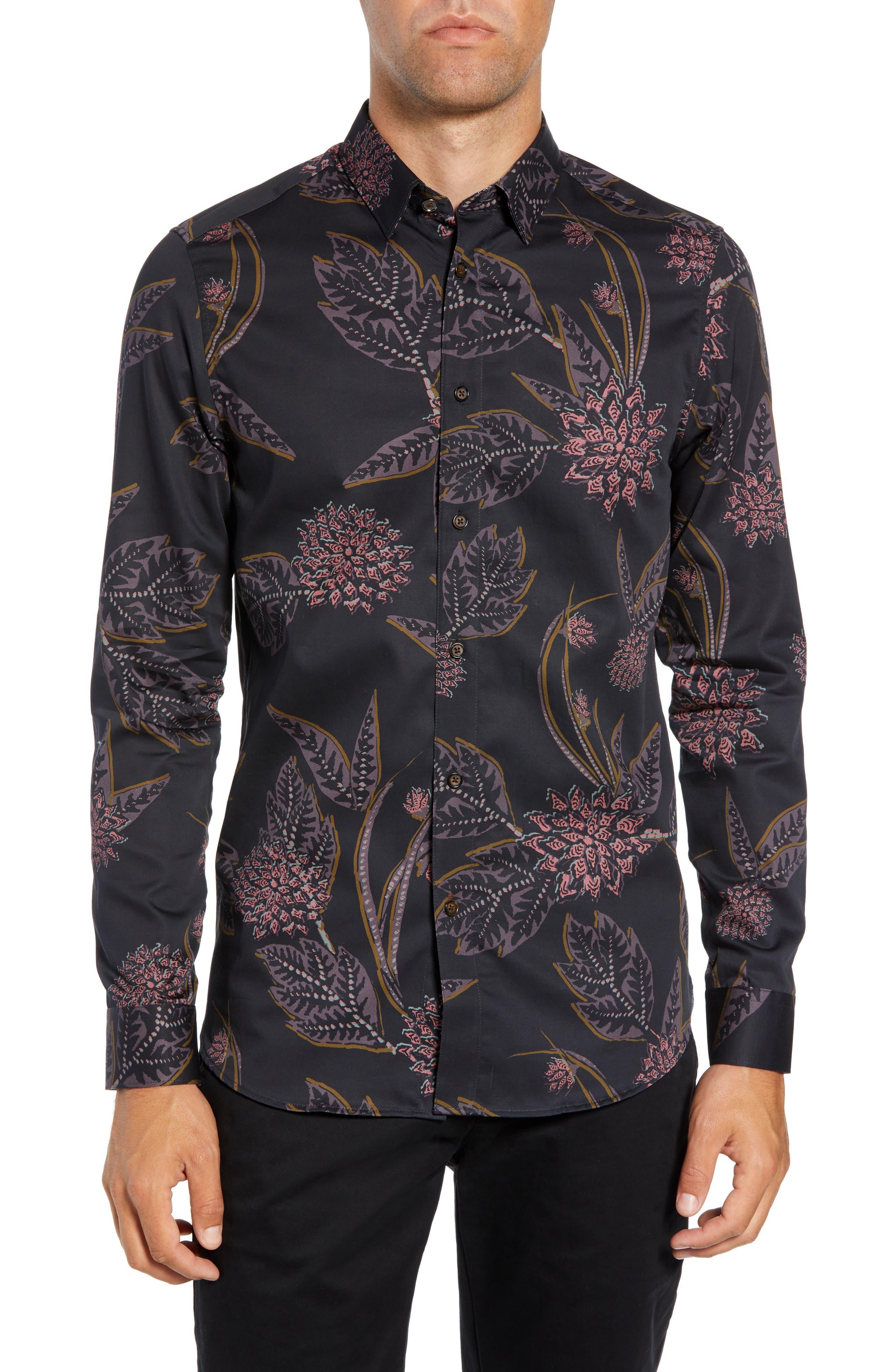 Notting Slim Fit Floral Sport Shirt,                             Main thumbnail 1, color,                             NAVY