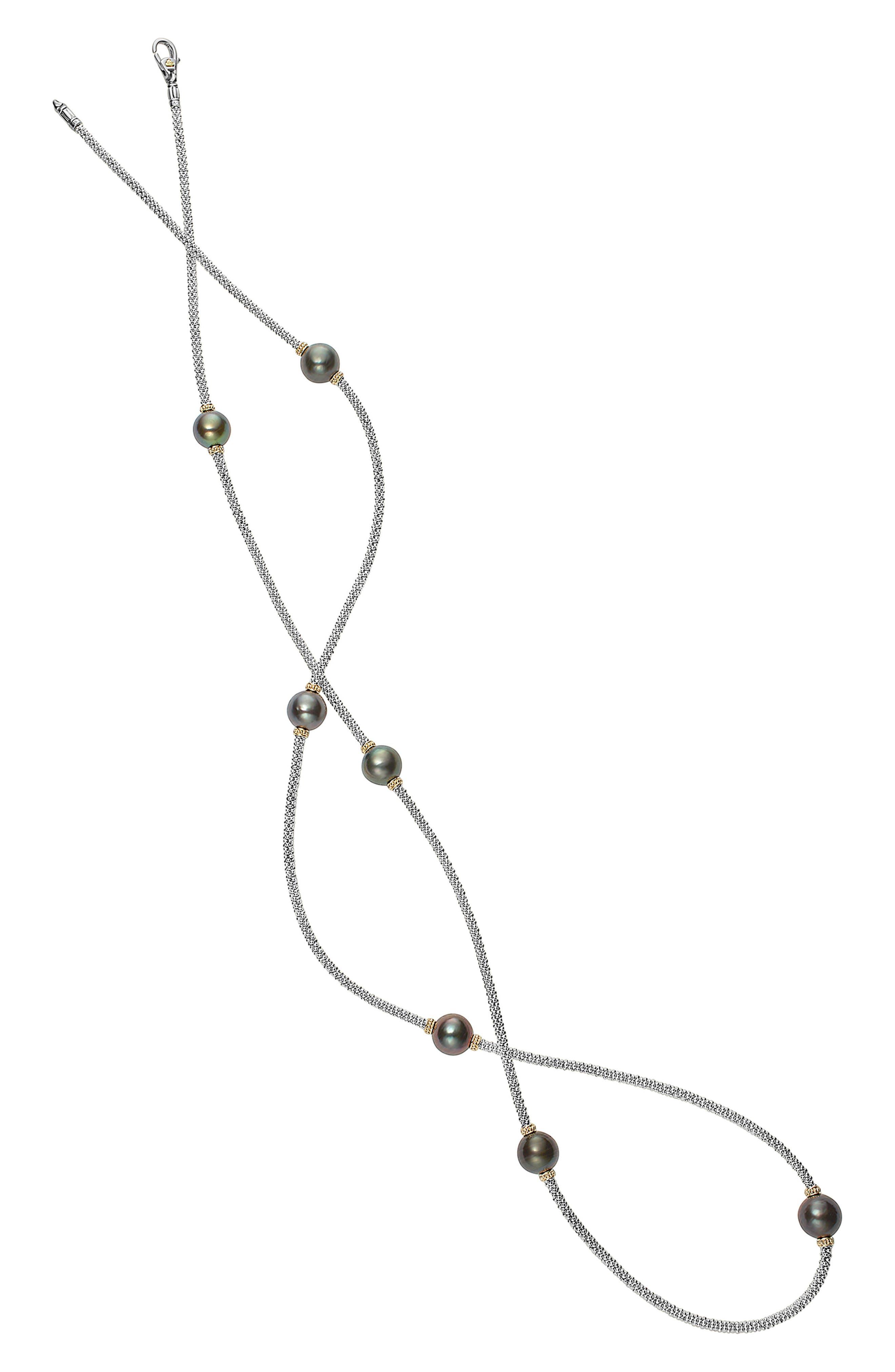 Luna Long Pearl Station Necklace,                             Alternate thumbnail 3, color,                             001