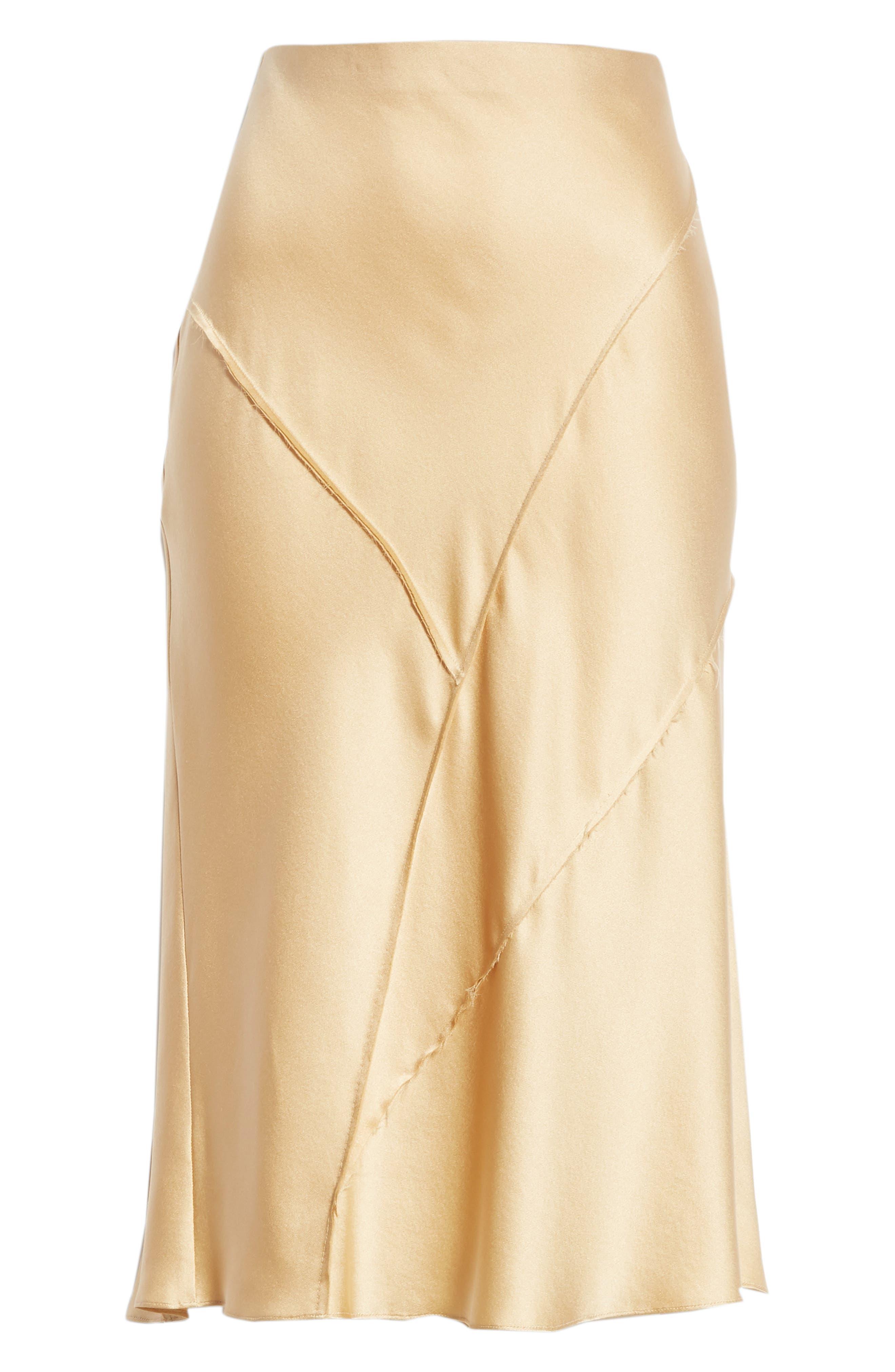 Raw Edge Bias Silk Skirt,                             Alternate thumbnail 6, color,                             GINSENG