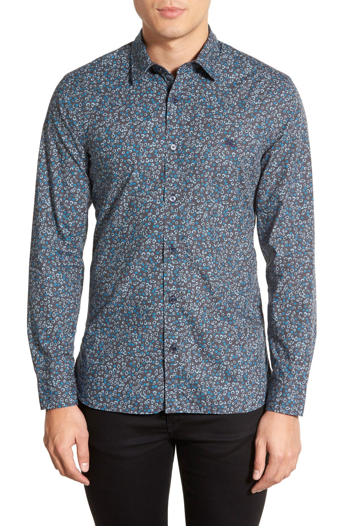 Brit 'Jonson' Trim Fit Flower Print Cotton Sport Shirt, Main, color, 410