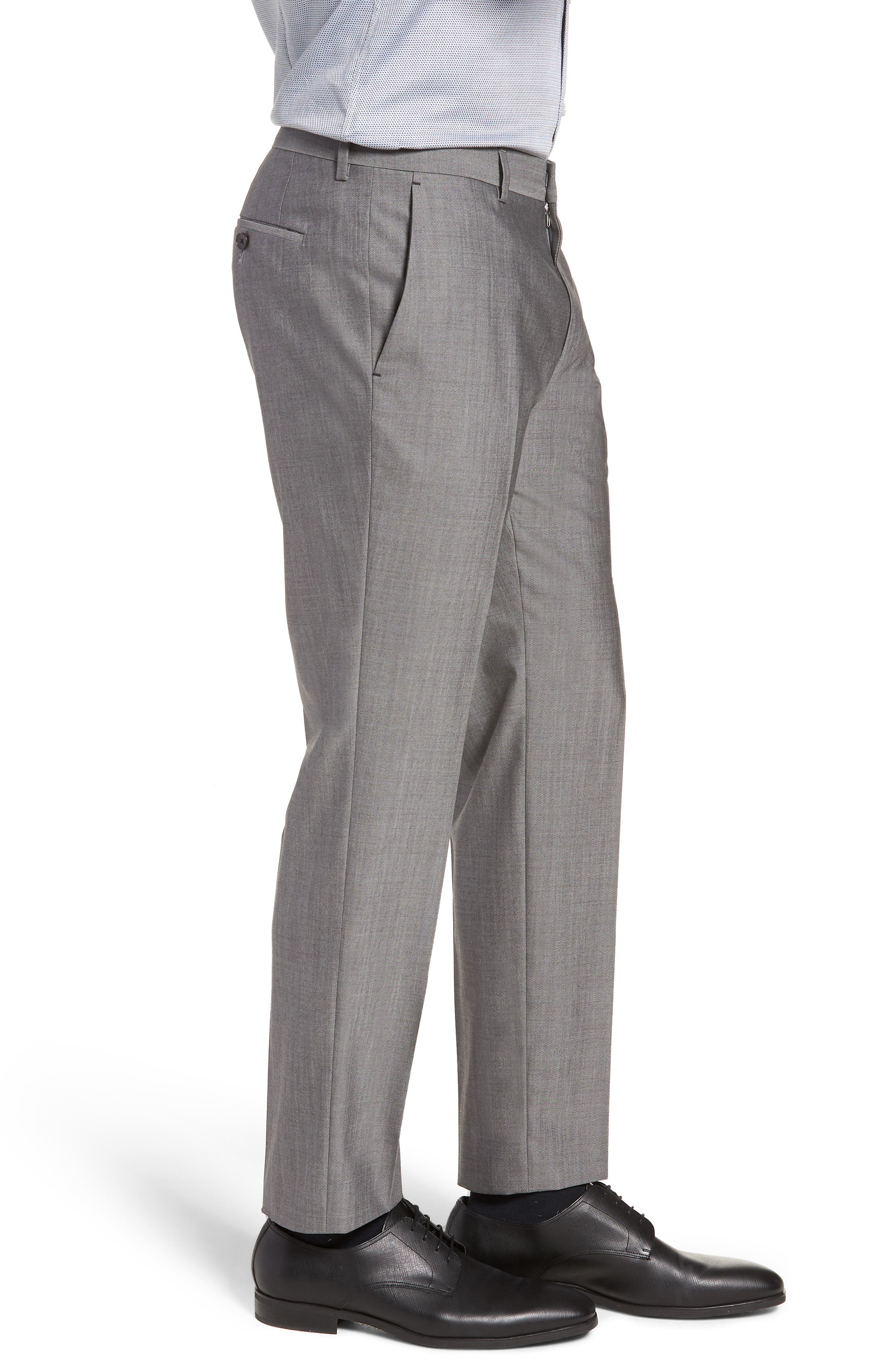 Genesis Flat Front Solid Wool Trousers,                             Alternate thumbnail 3, color,                             GREY