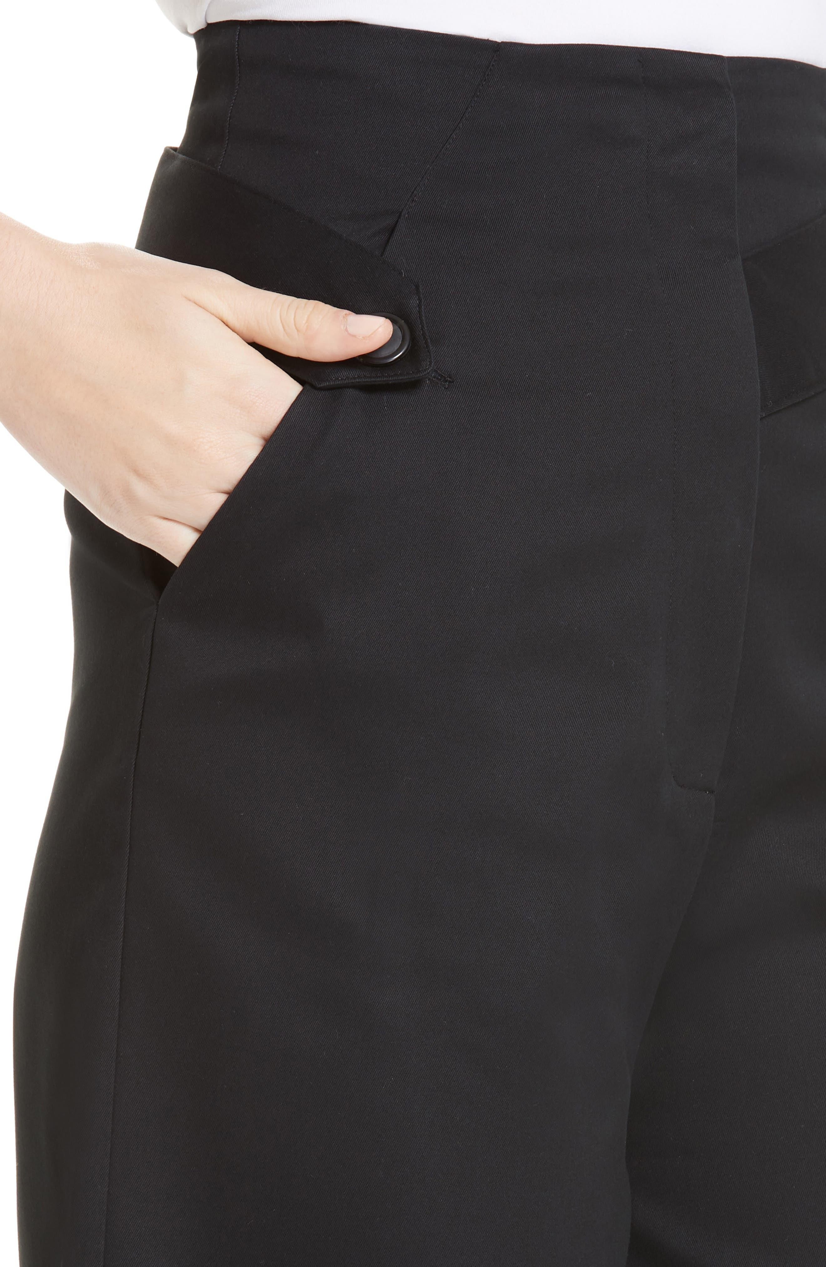 Palmer Harding Distorted Culottes,                             Alternate thumbnail 4, color,                             BLACK COTTON TWILL