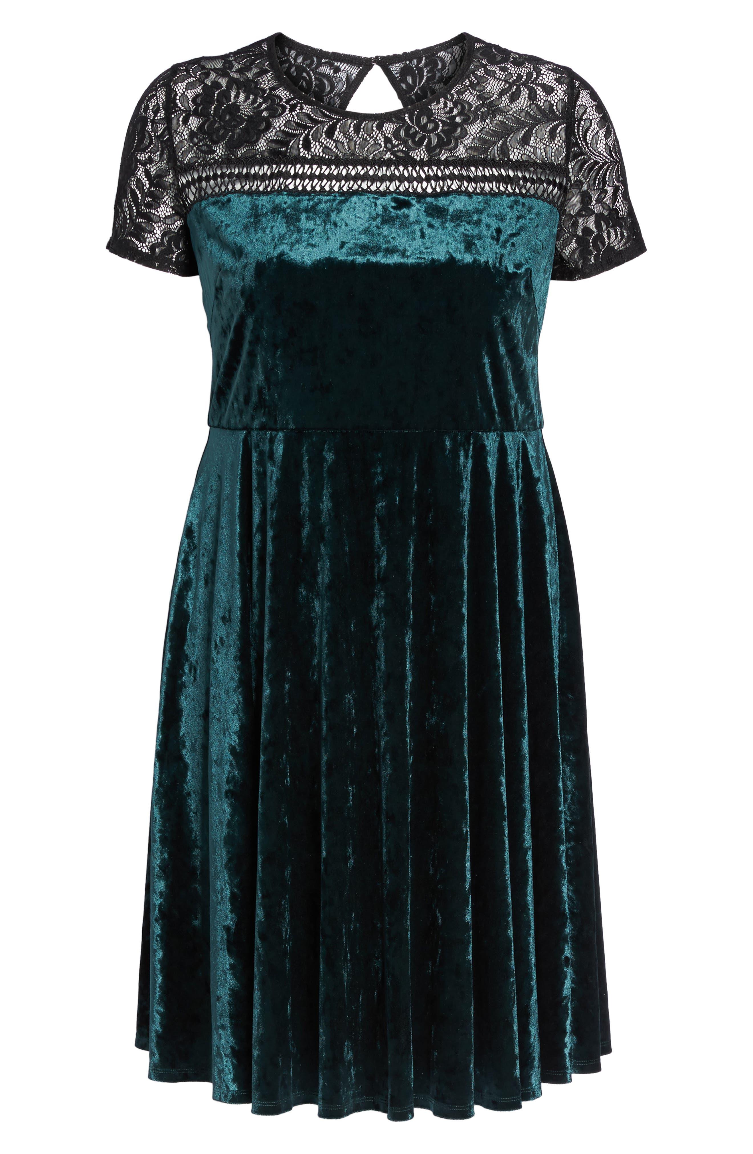 Lace Yoke Velvet Fit & Flare Dress,                             Alternate thumbnail 6, color,                             256