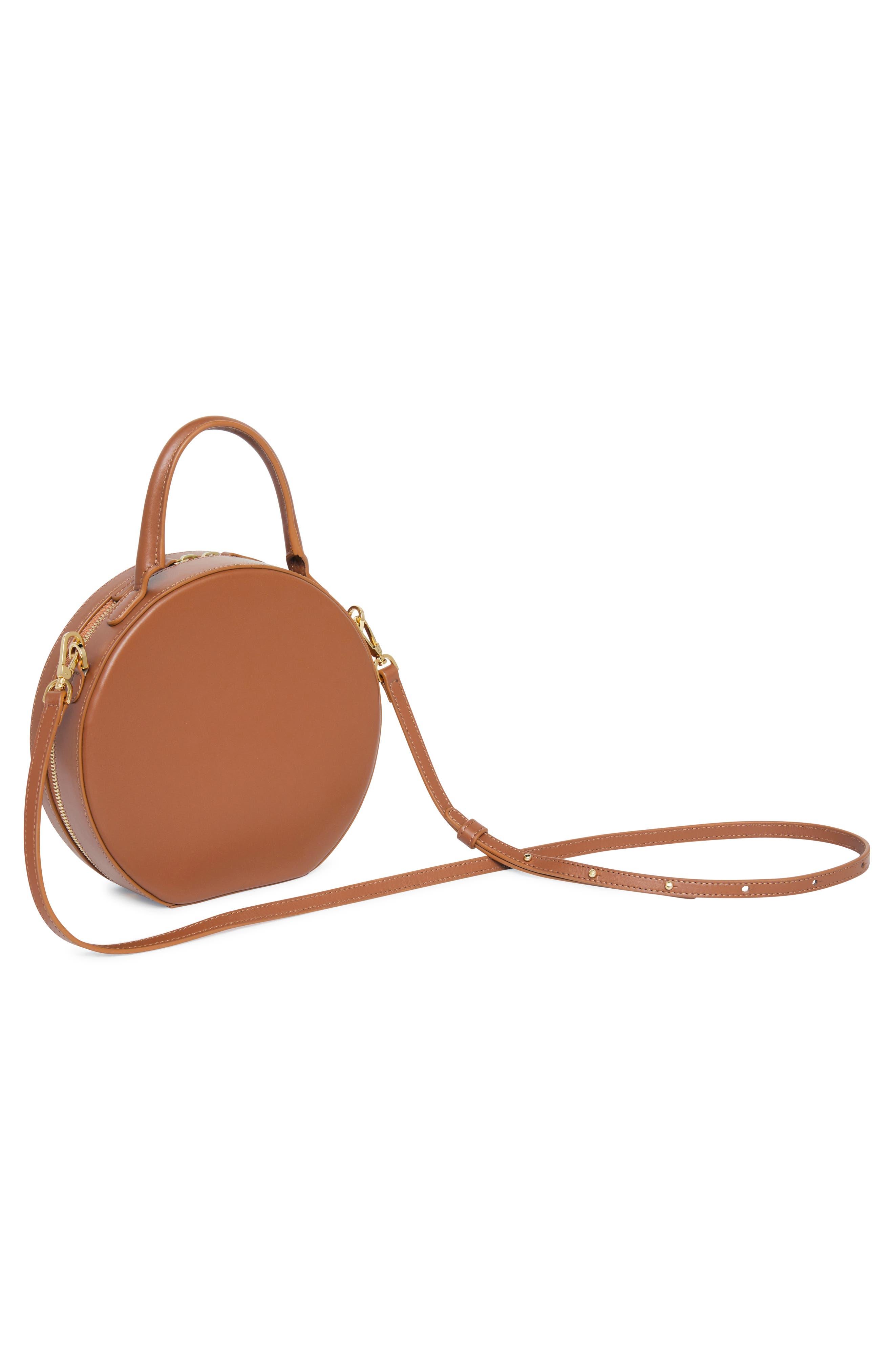 Leather Circle Crossbody Bag,                             Alternate thumbnail 4, color,                             SADDLE