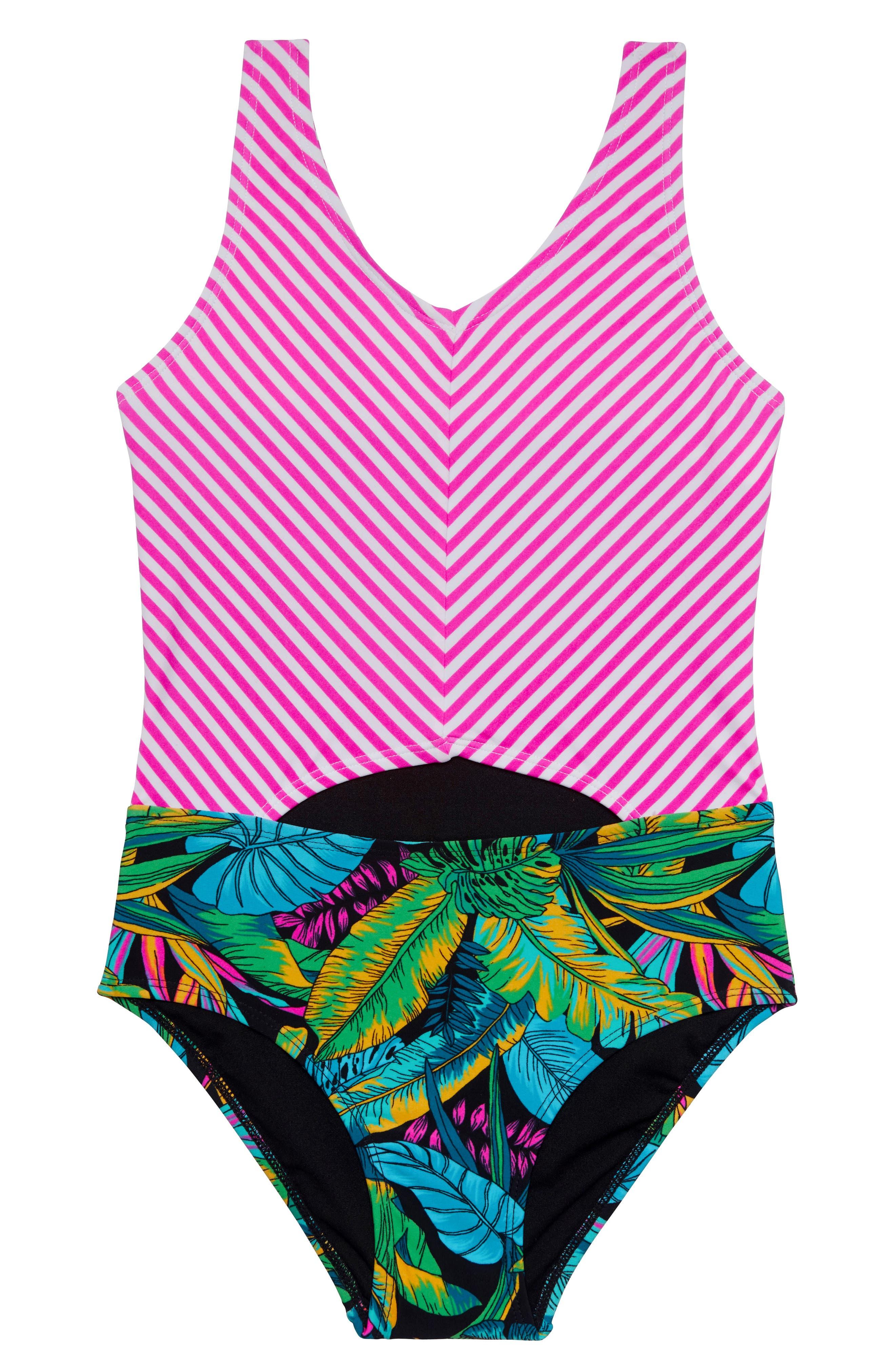 Girls Gossip Girl Electric Jungle OnePiece Swimsuit Size 14  Black