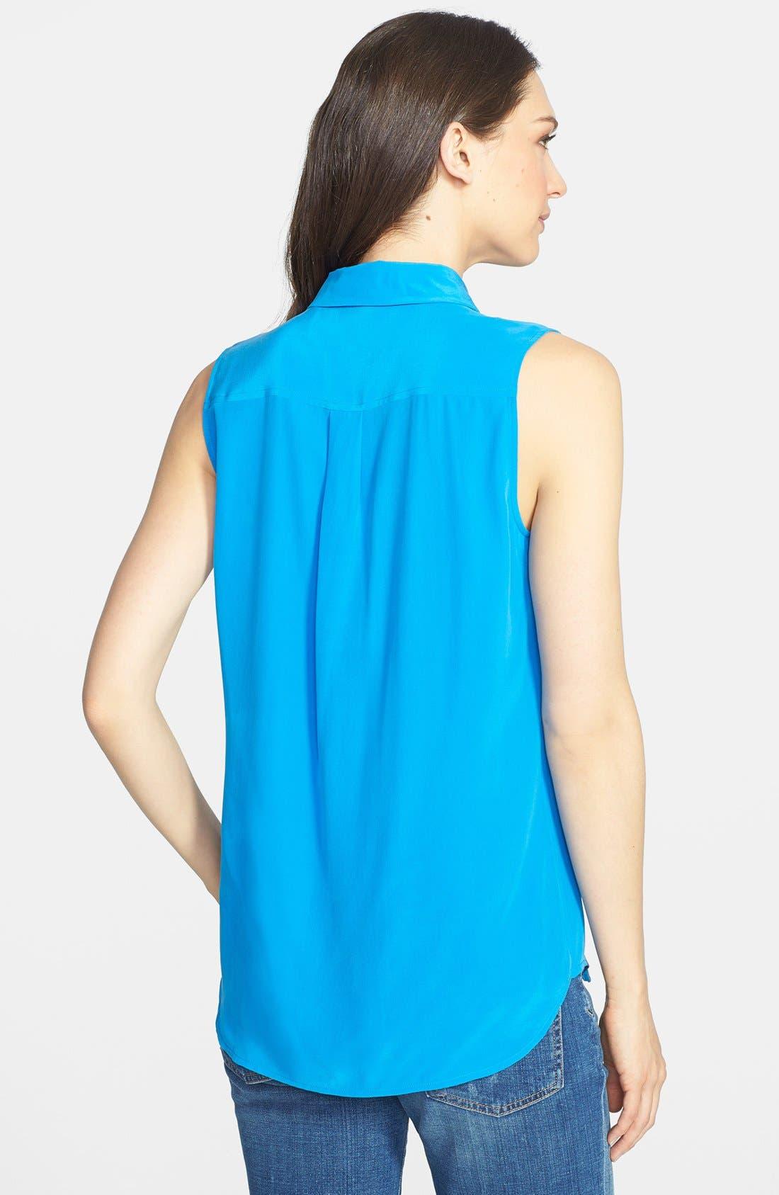 'Slim Signature' Sleeveless Silk Shirt,                             Alternate thumbnail 114, color,