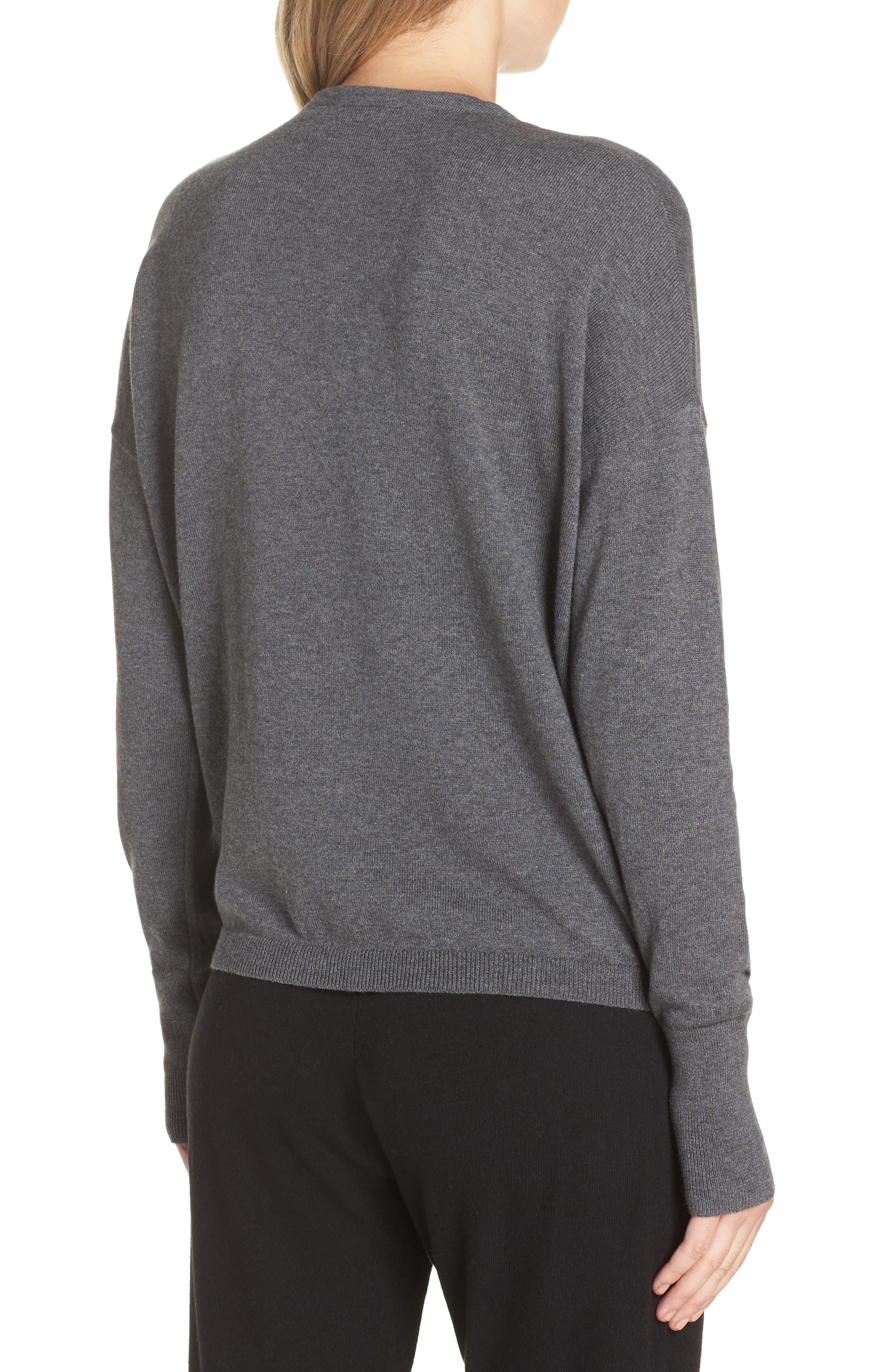 Surplice Front Sweater,                             Alternate thumbnail 2, color,                             DARK STEEL HEATHER