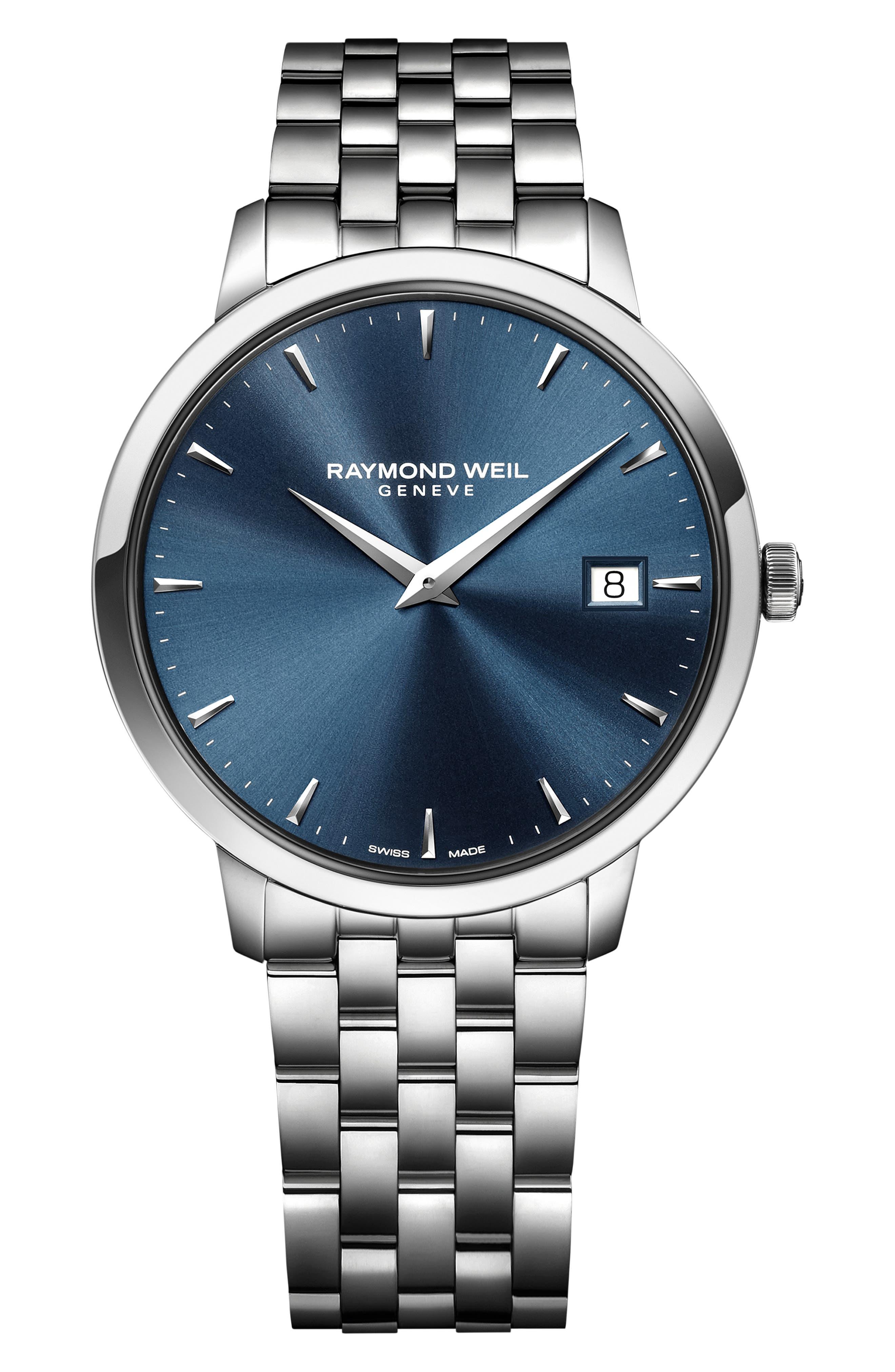 Toccata Bracelet Watch, 42mm,                             Main thumbnail 1, color,                             SILVER/ BLUE/ SILVER