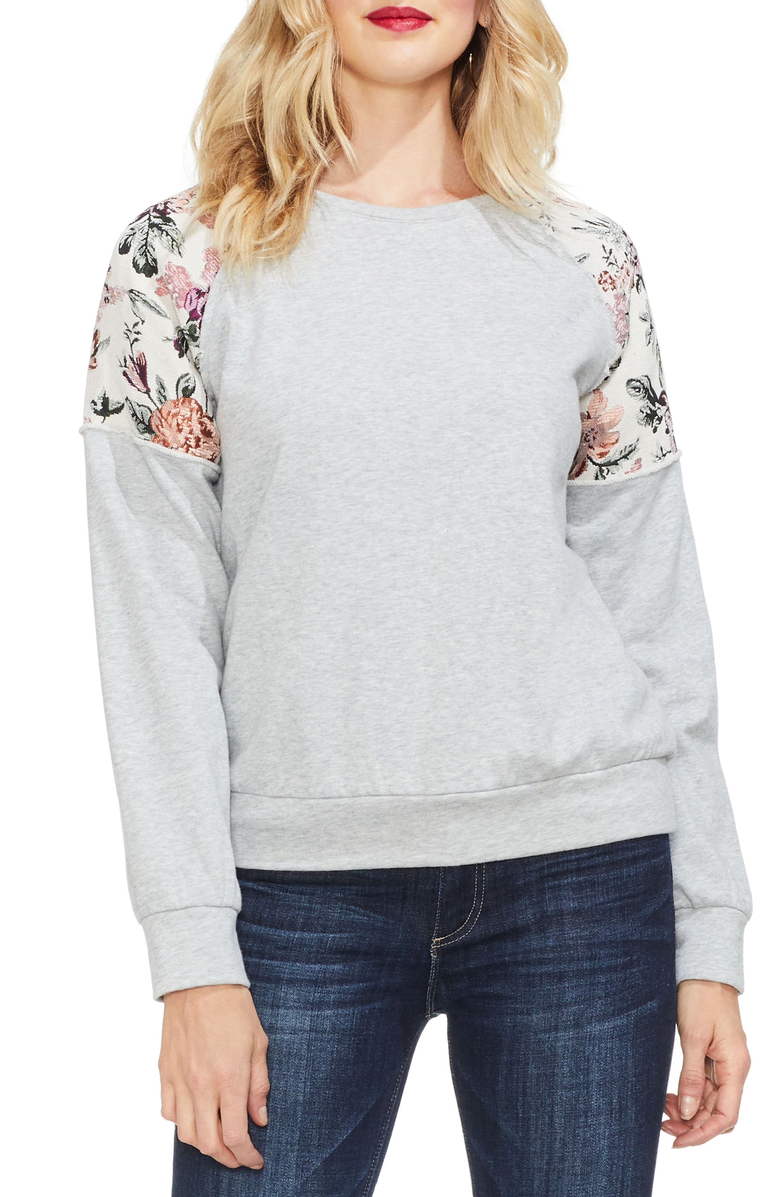 VINCE CAMUTO Drop-Shoulder Floral Sweater in Grey Heather