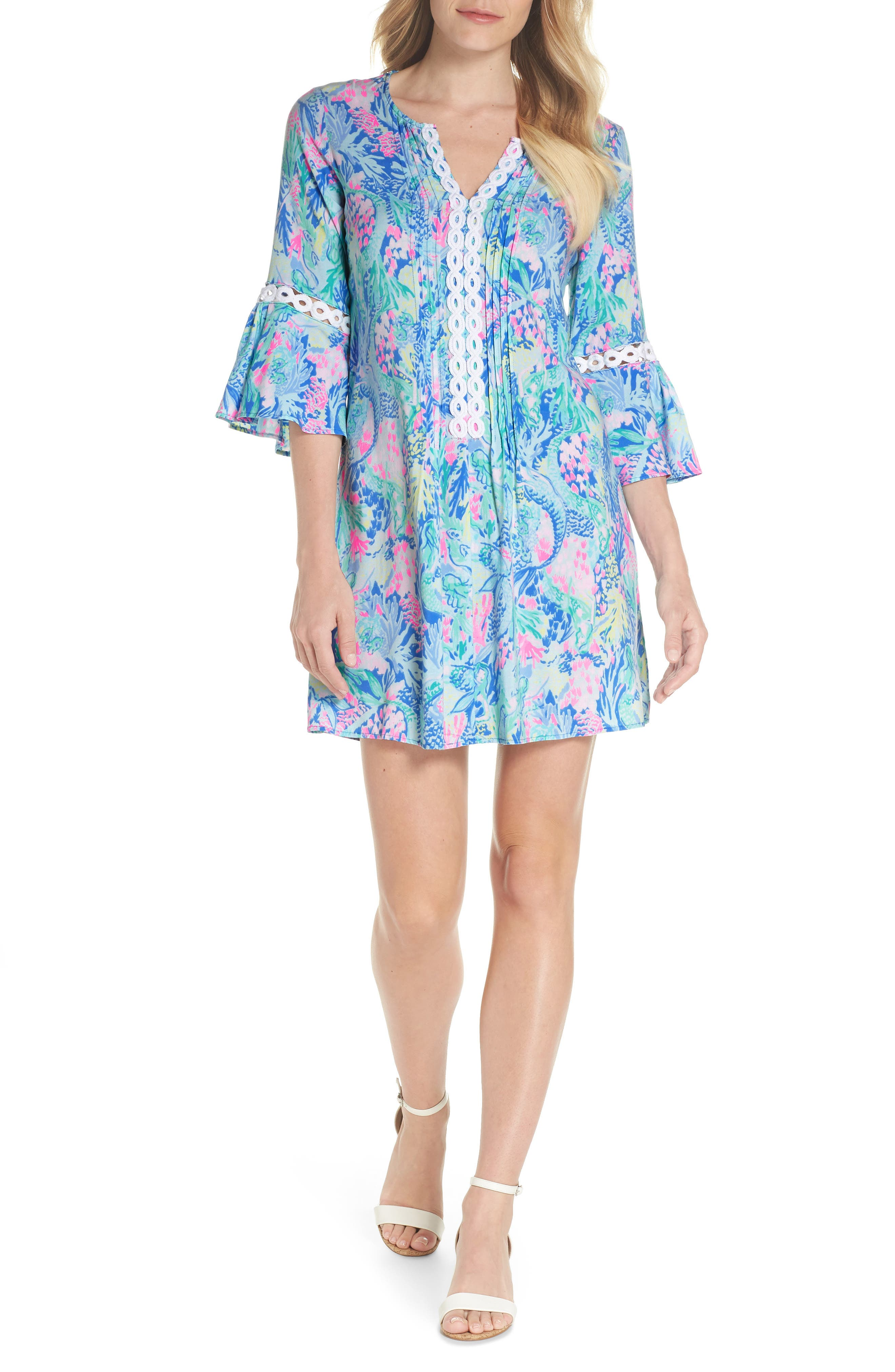 LILLY PULITZER<SUP>®</SUP>,                             Hollie Tunic Dress,                             Main thumbnail 1, color,                             MULTI MERMAIDS COVE