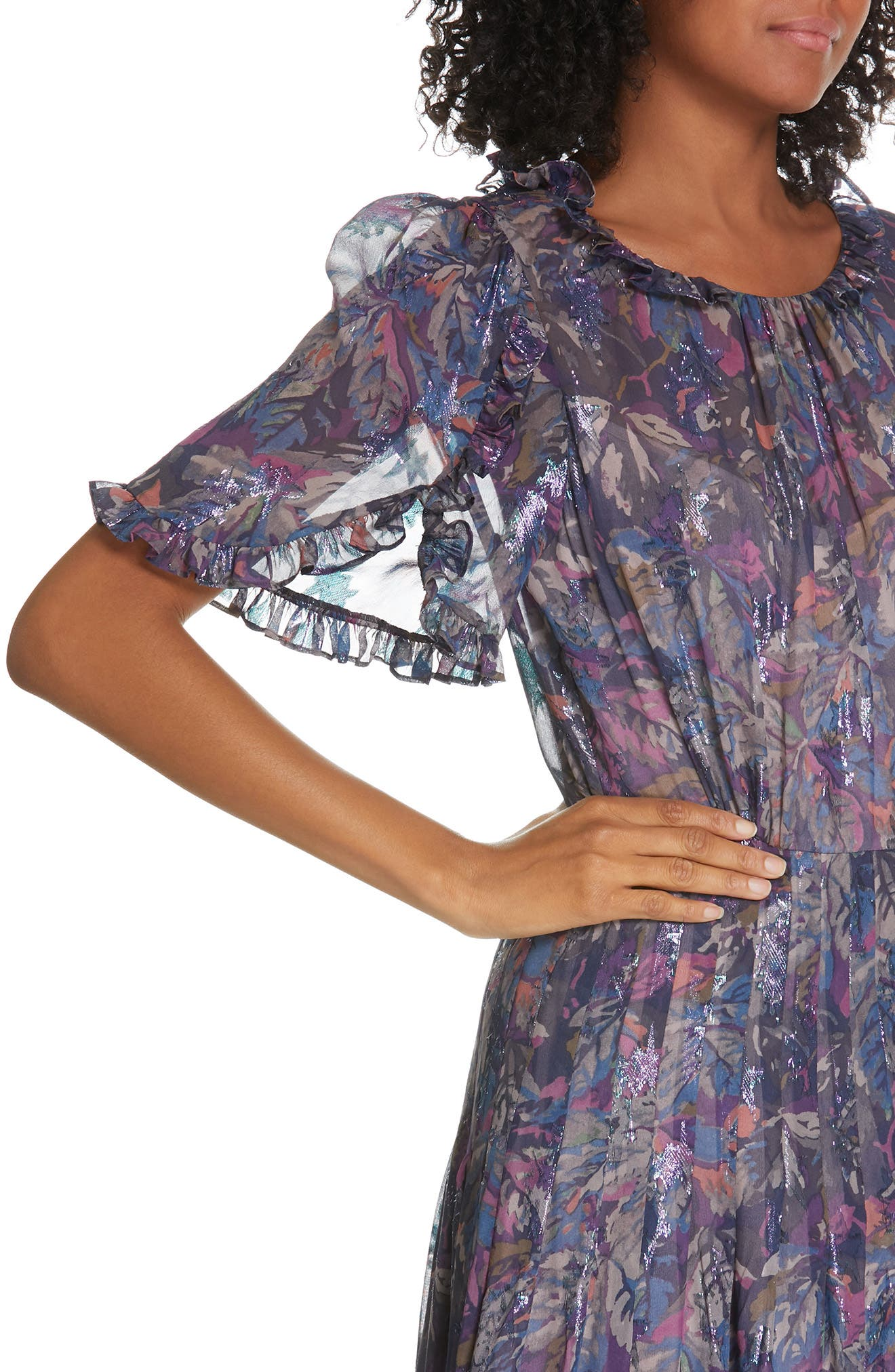 Giverny Metallic Detail Silk Chiffon Dress,                             Alternate thumbnail 4, color,                             AMETHYST COMBO