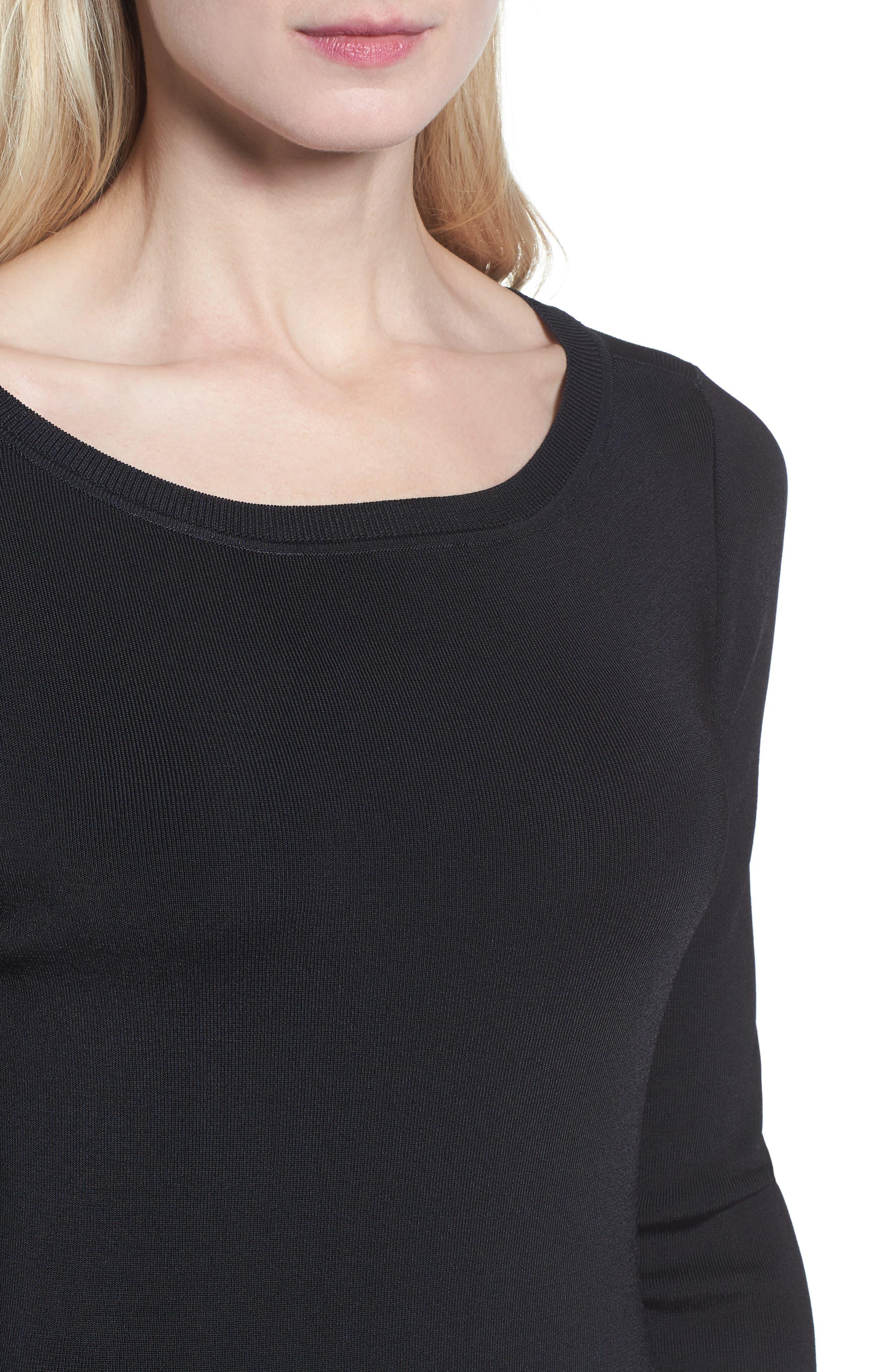Bateau Neck Sweater Dress,                             Alternate thumbnail 4, color,                             001