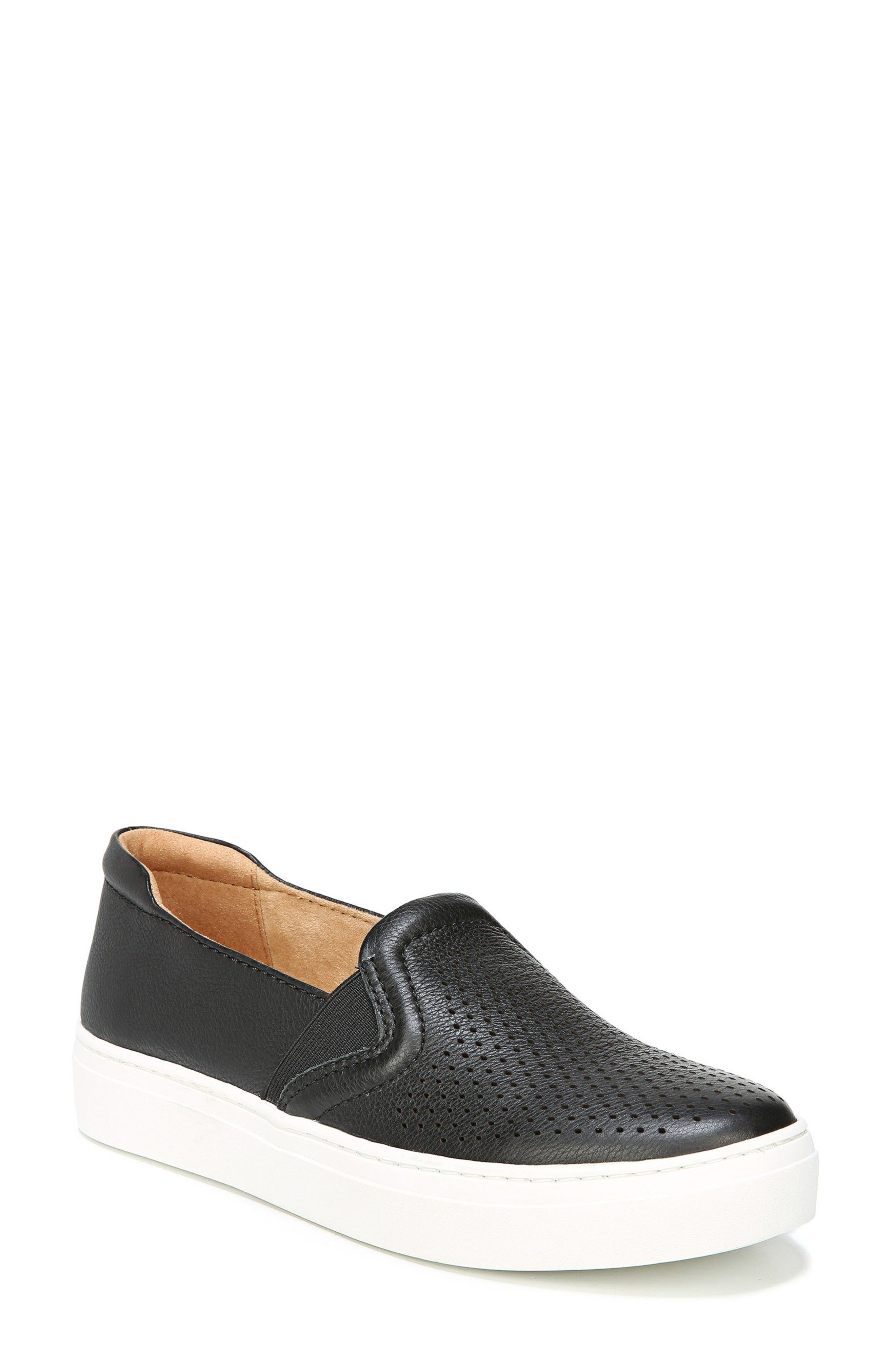 Carly Slip-On Sneaker,                         Main,                         color, BLACK PEBBLED LEATHER