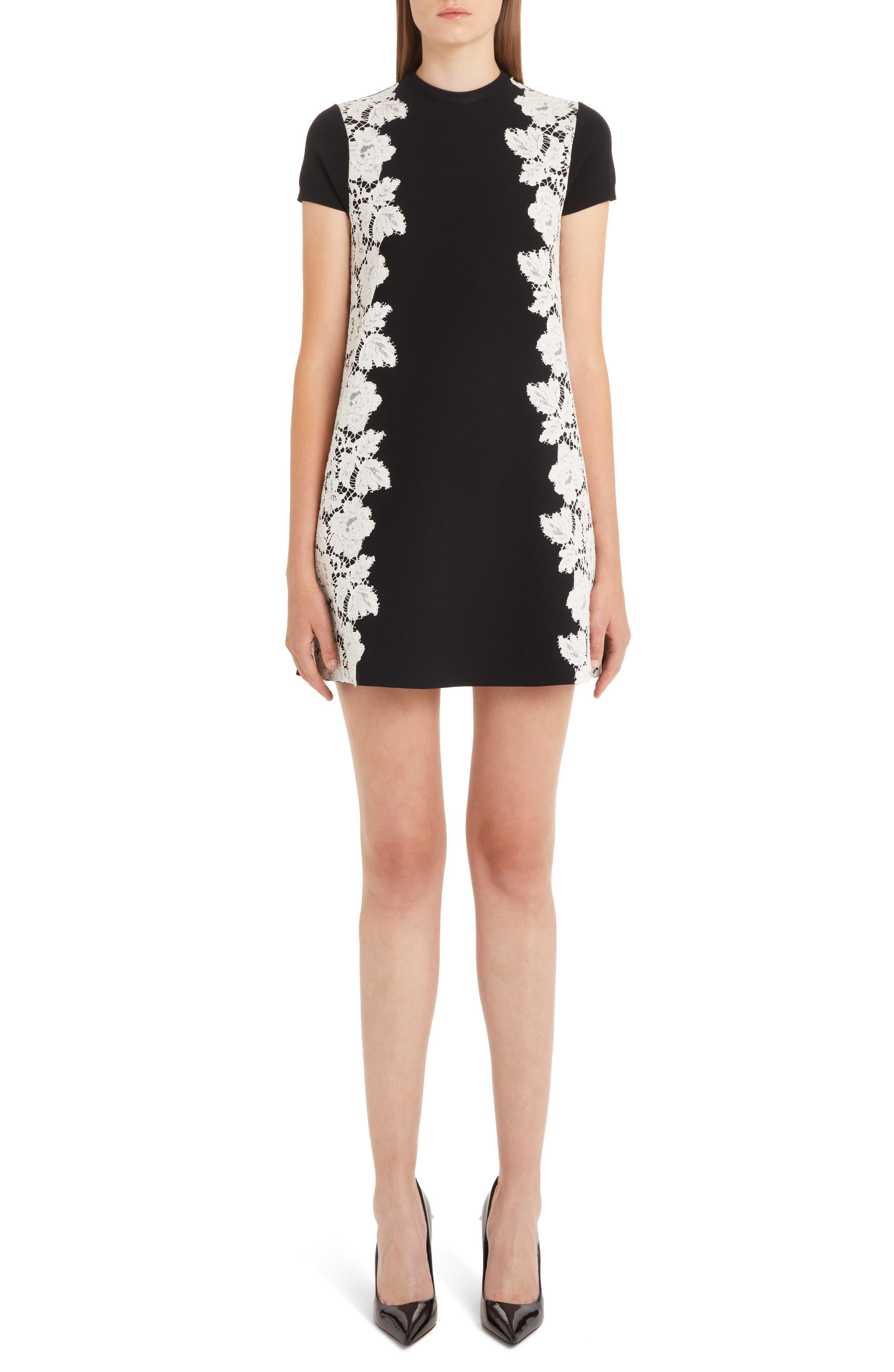 Valentino Lace Overlay Knit Dress, Black