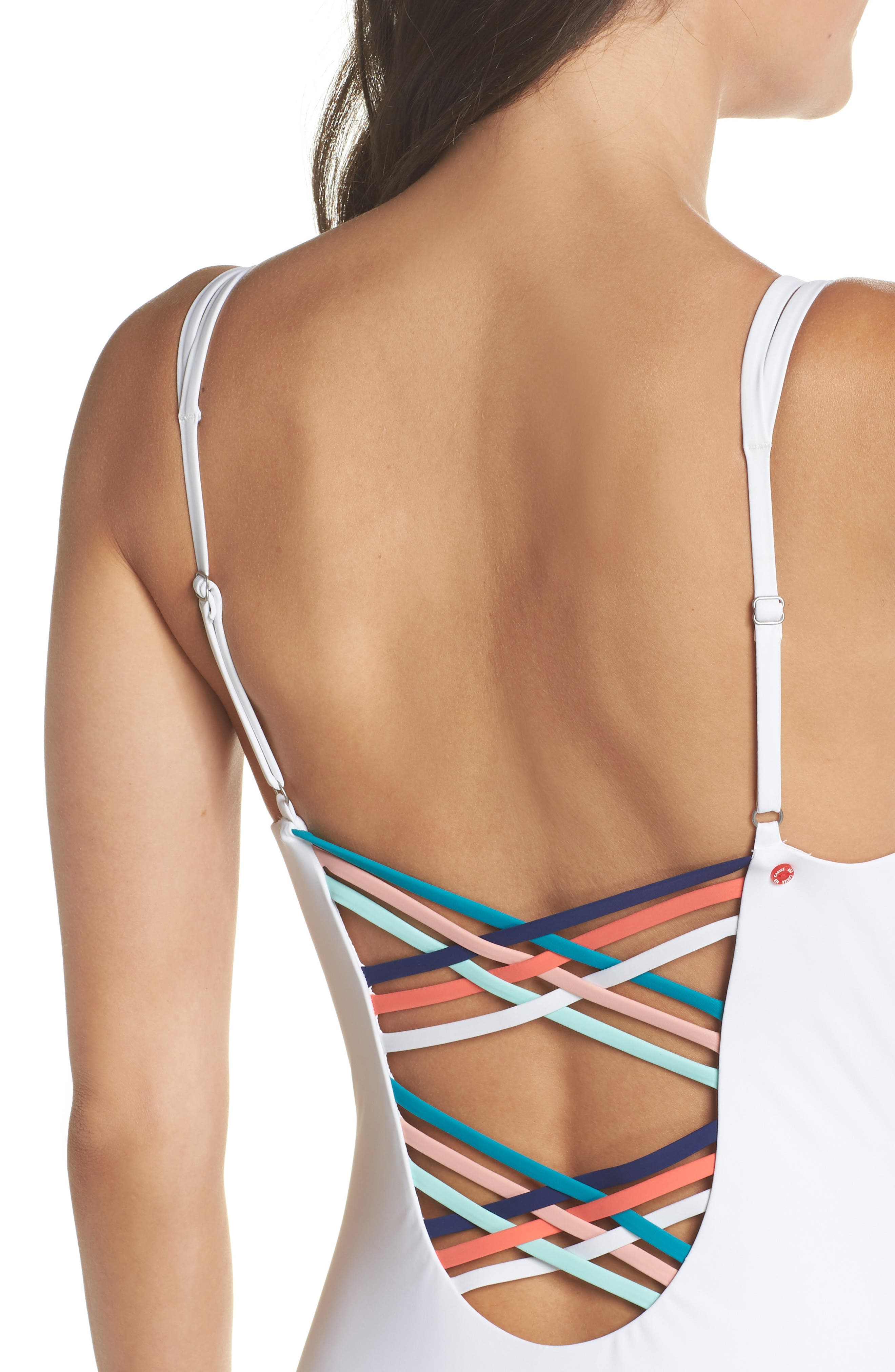 Strappy Plunging One-Piece Swimsuit,                             Alternate thumbnail 4, color,                             WHITE