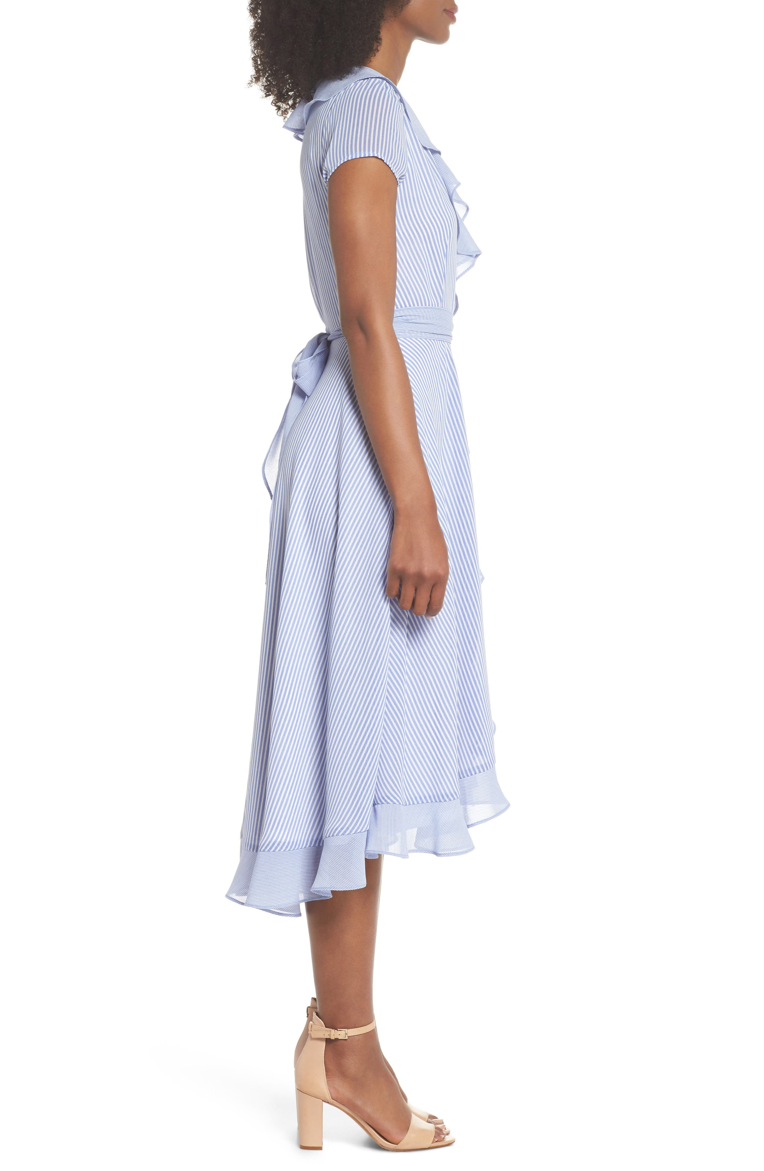 Stripe Faux Wrap Dress,                             Alternate thumbnail 3, color,                             411