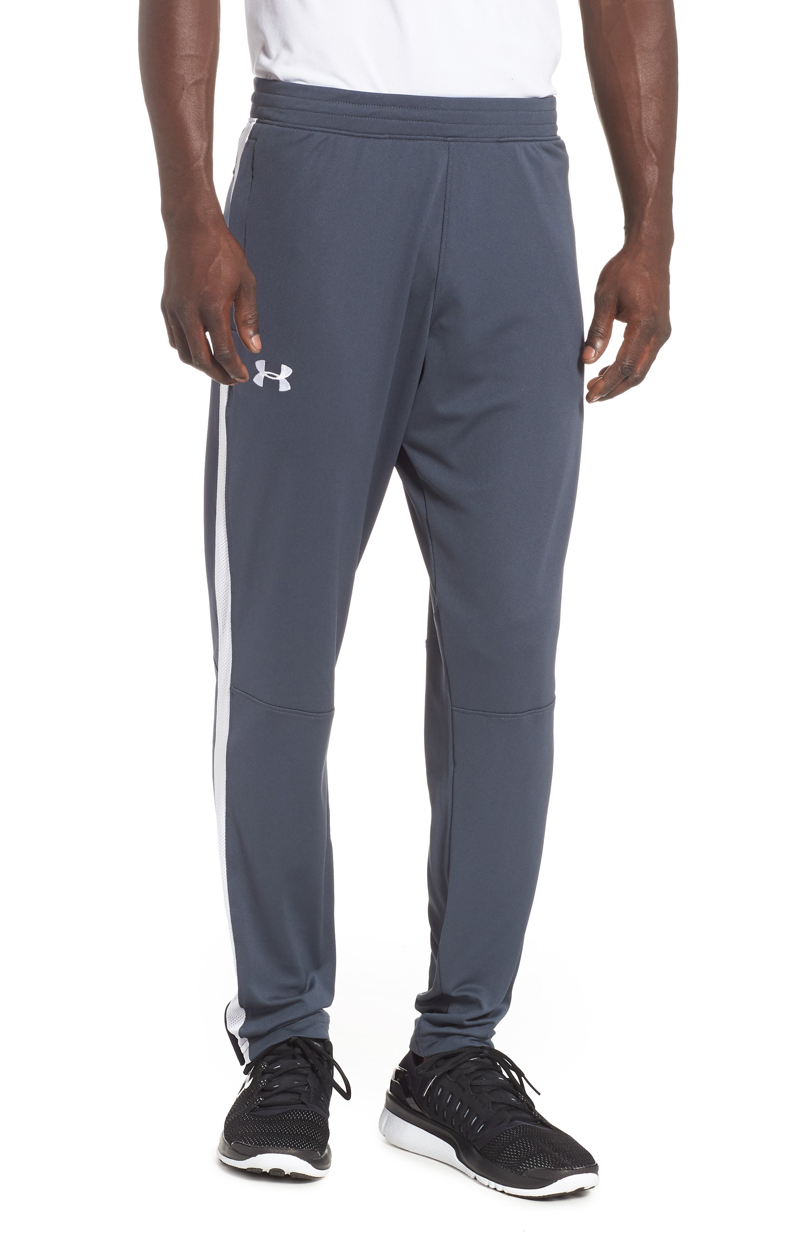 Sportstyle Slim Piqué Track Pants,                         Main,                         color, STEALTH GRAY / / WHITE