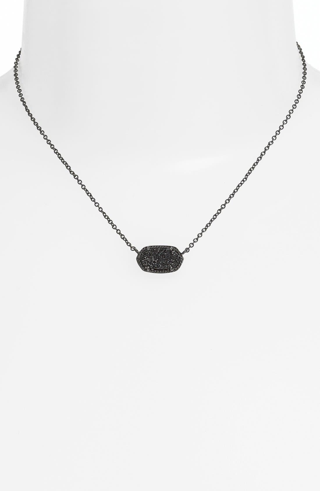 Elisa Filigree Pendant Necklace,                         Main,                         color, GUNMETAL/ BLACK DRUSY