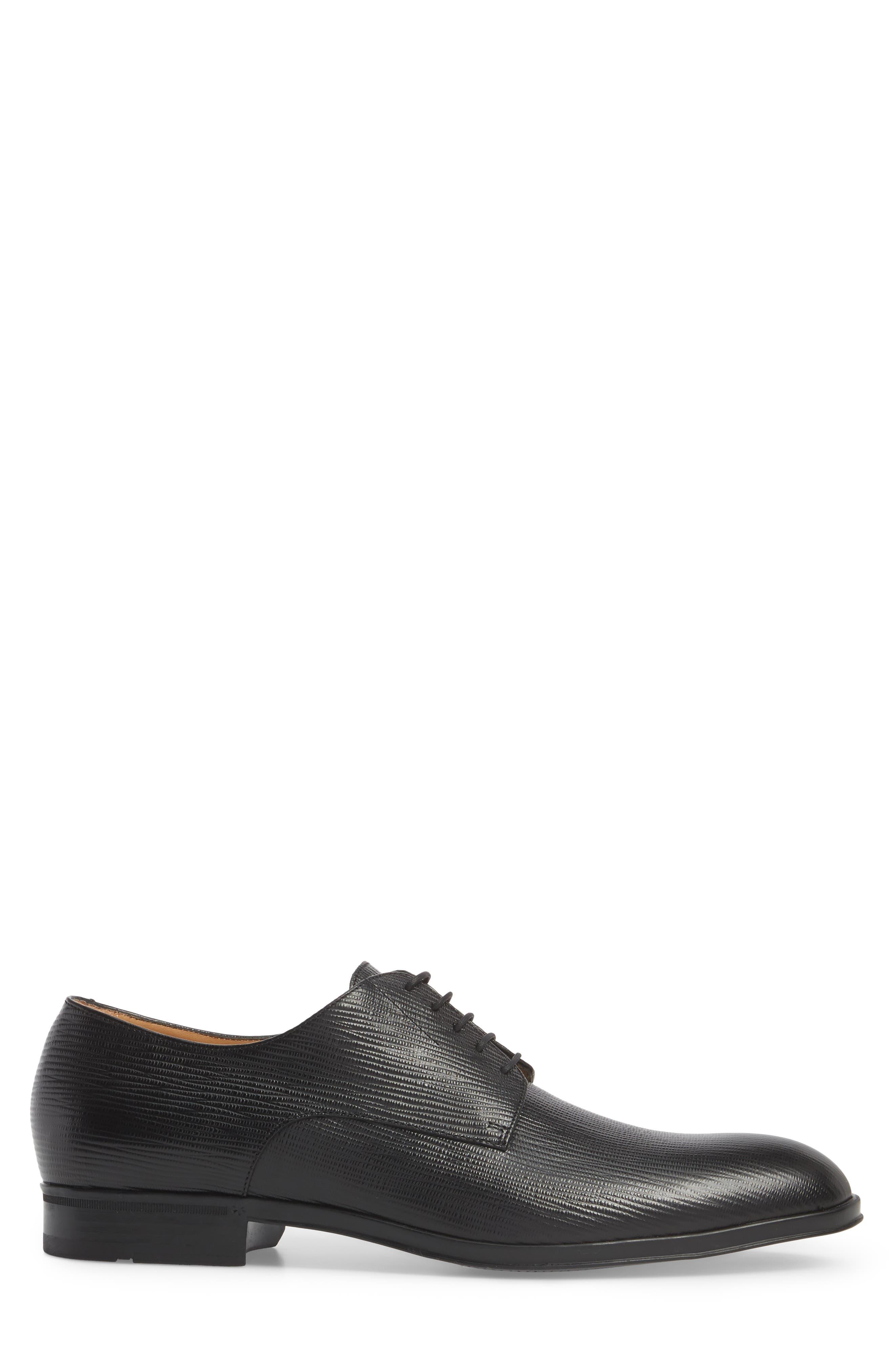 Eton Plain Toe Derby,                             Alternate thumbnail 3, color,                             BLACK LEATHER