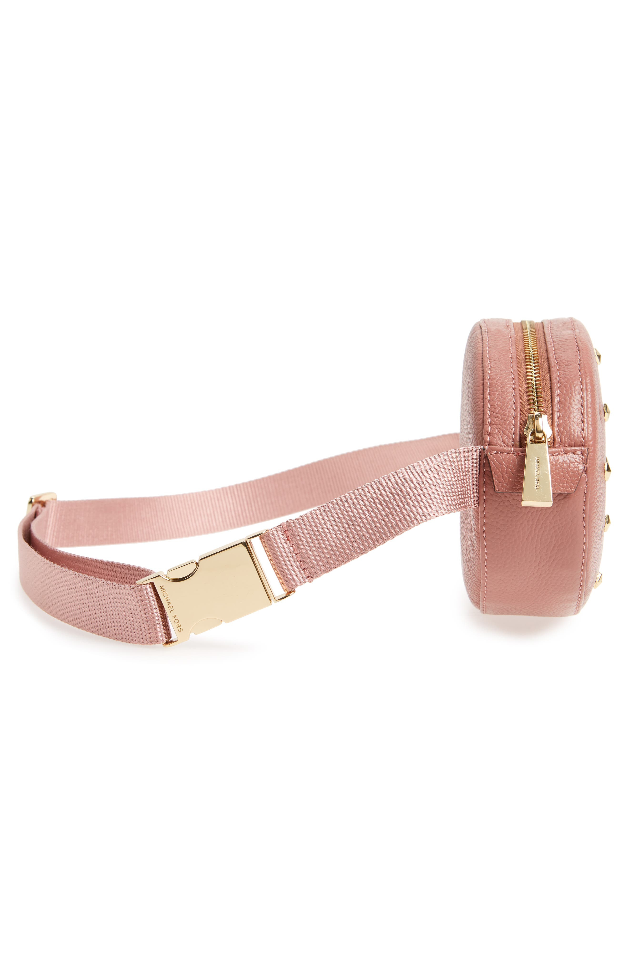 Studded Logo Leather Belt Bag,                             Alternate thumbnail 4, color,                             ROSE/ ROSE