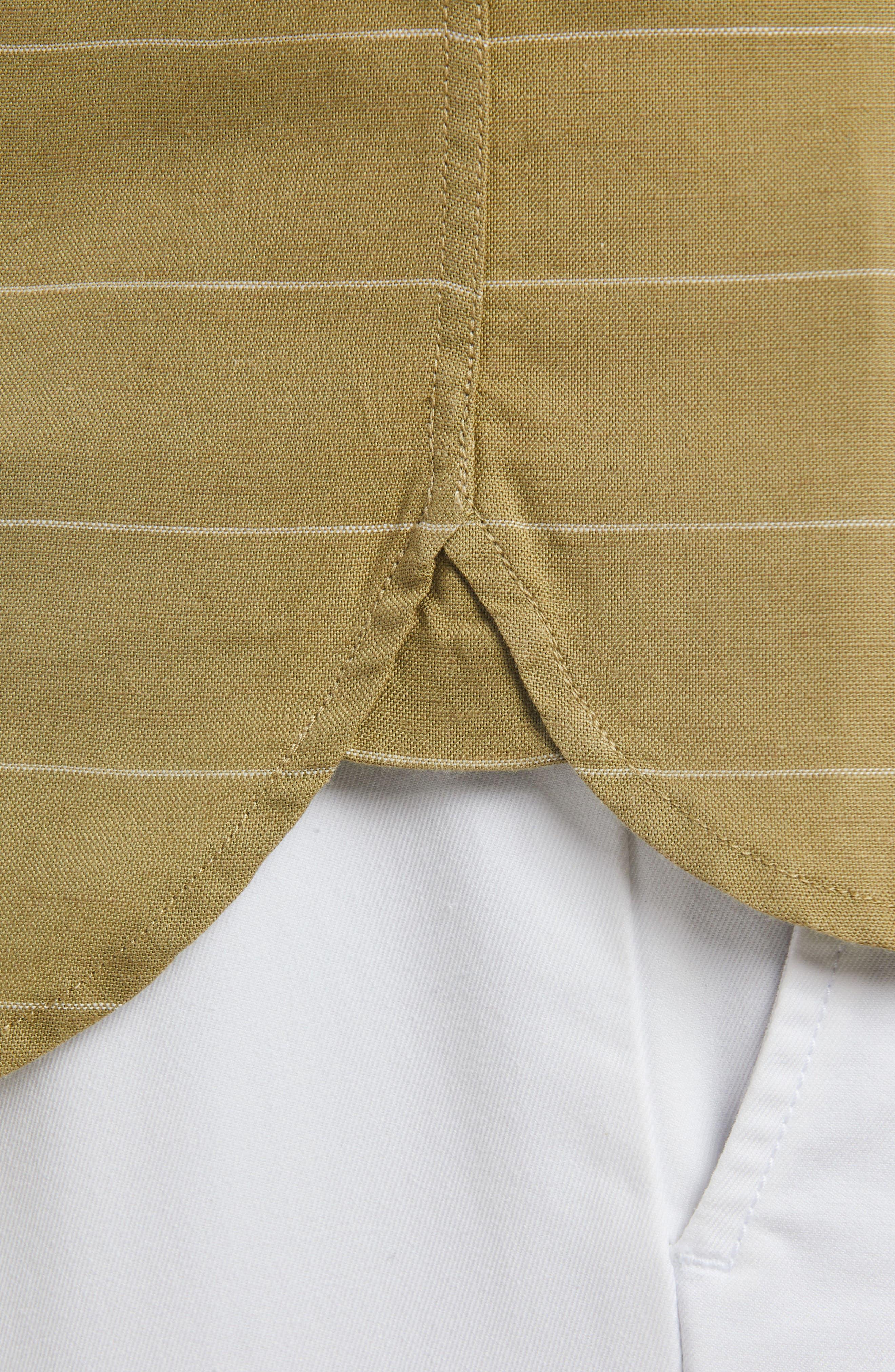 Slim Fit Stripe Cotton & Linen Sport Shirt,                             Alternate thumbnail 4, color,