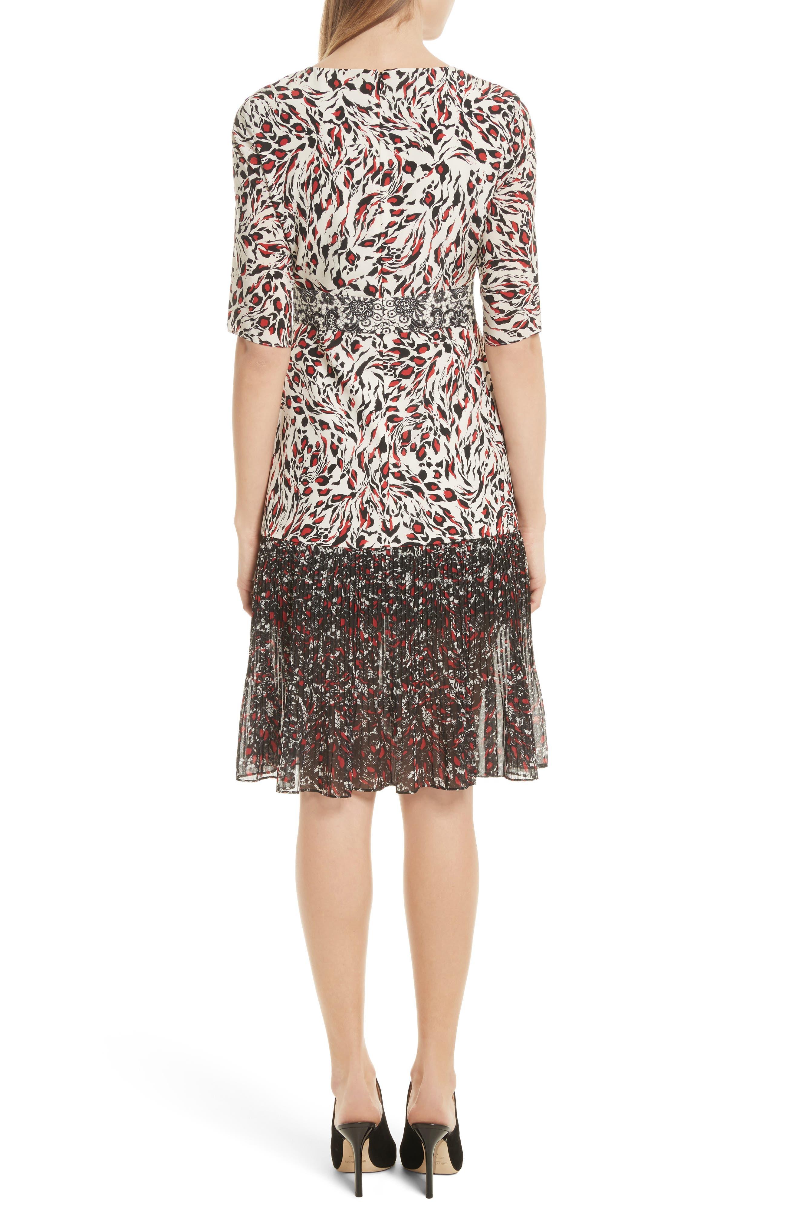 Vera Print Silk Dress,                             Alternate thumbnail 2, color,                             008