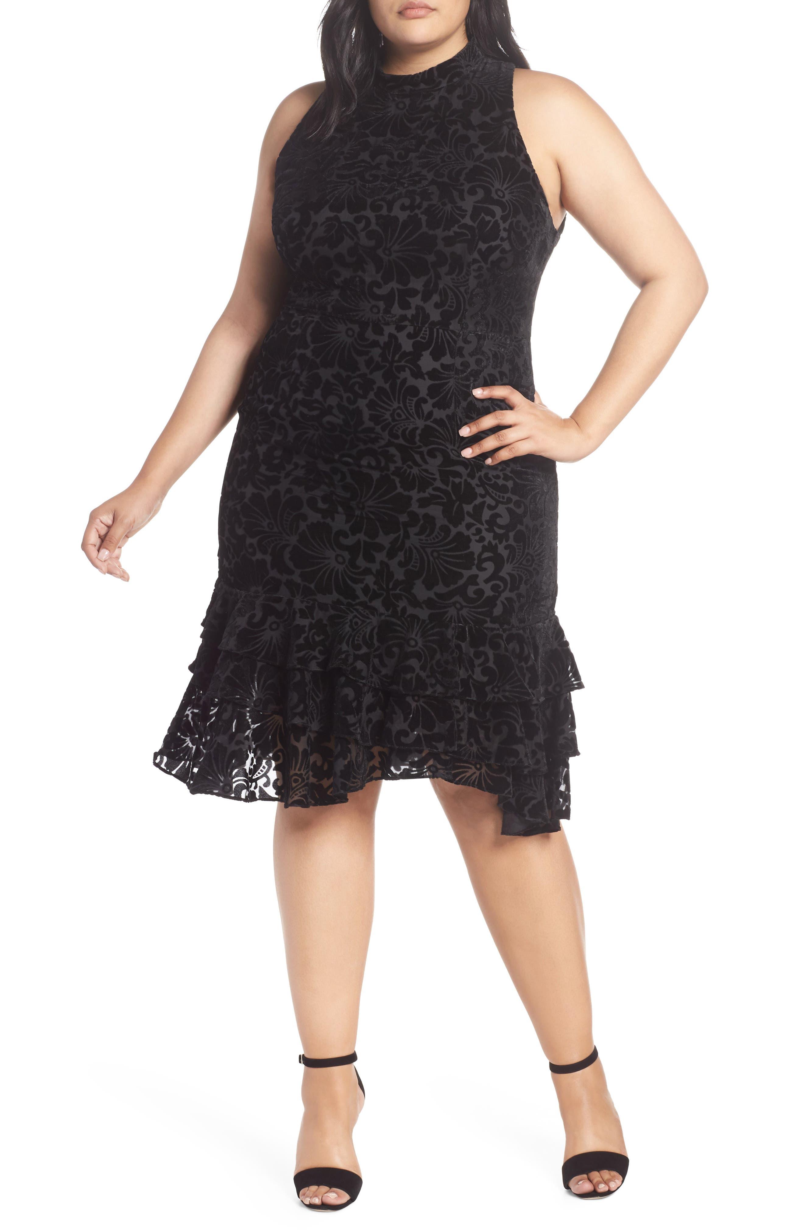 CHELSEA28,                             Burnout Velvet Sheath Dress,                             Main thumbnail 1, color,                             001