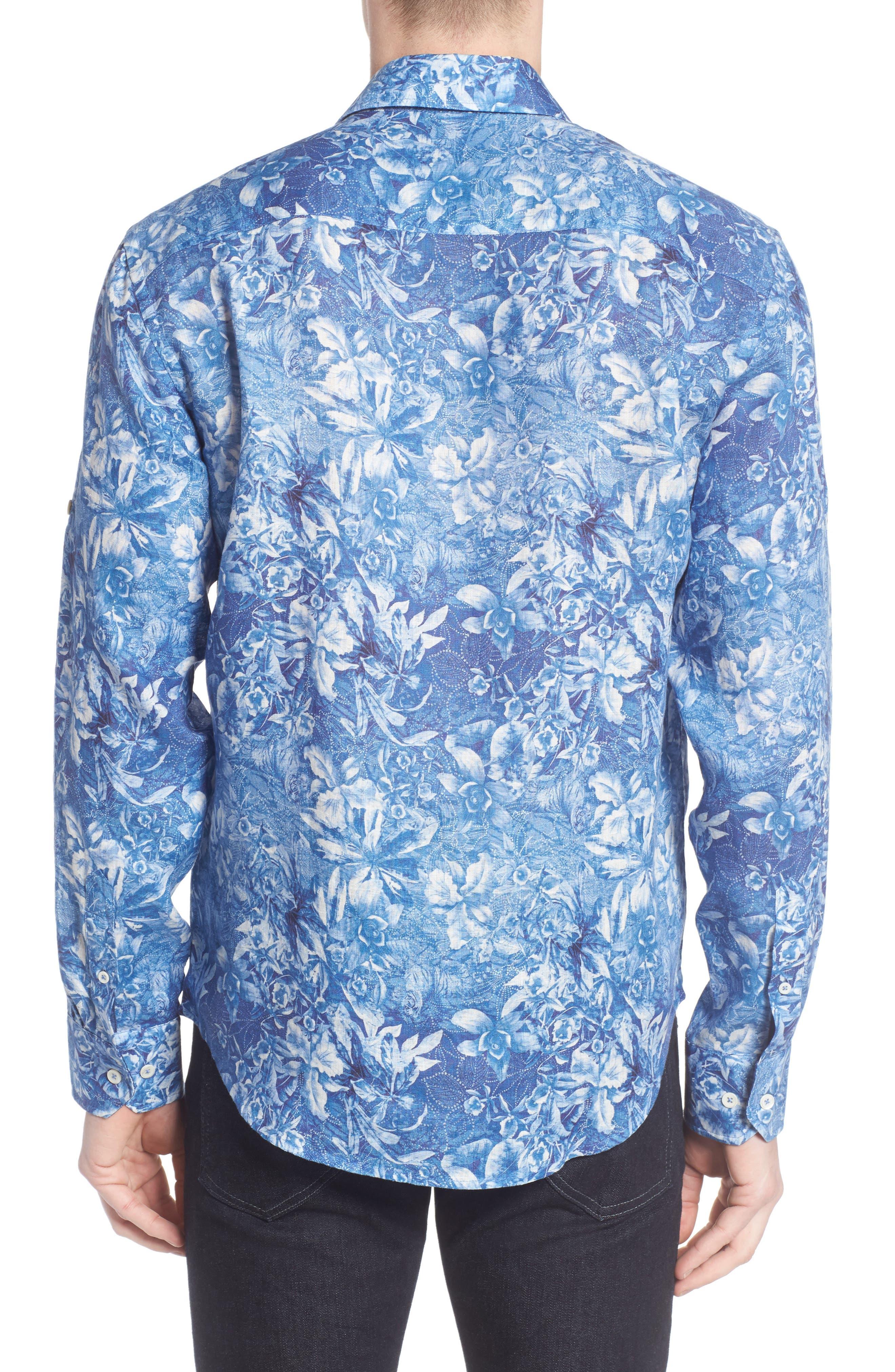 Shaped Fit Floral Linen Sport Shirt,                             Alternate thumbnail 2, color,                             420