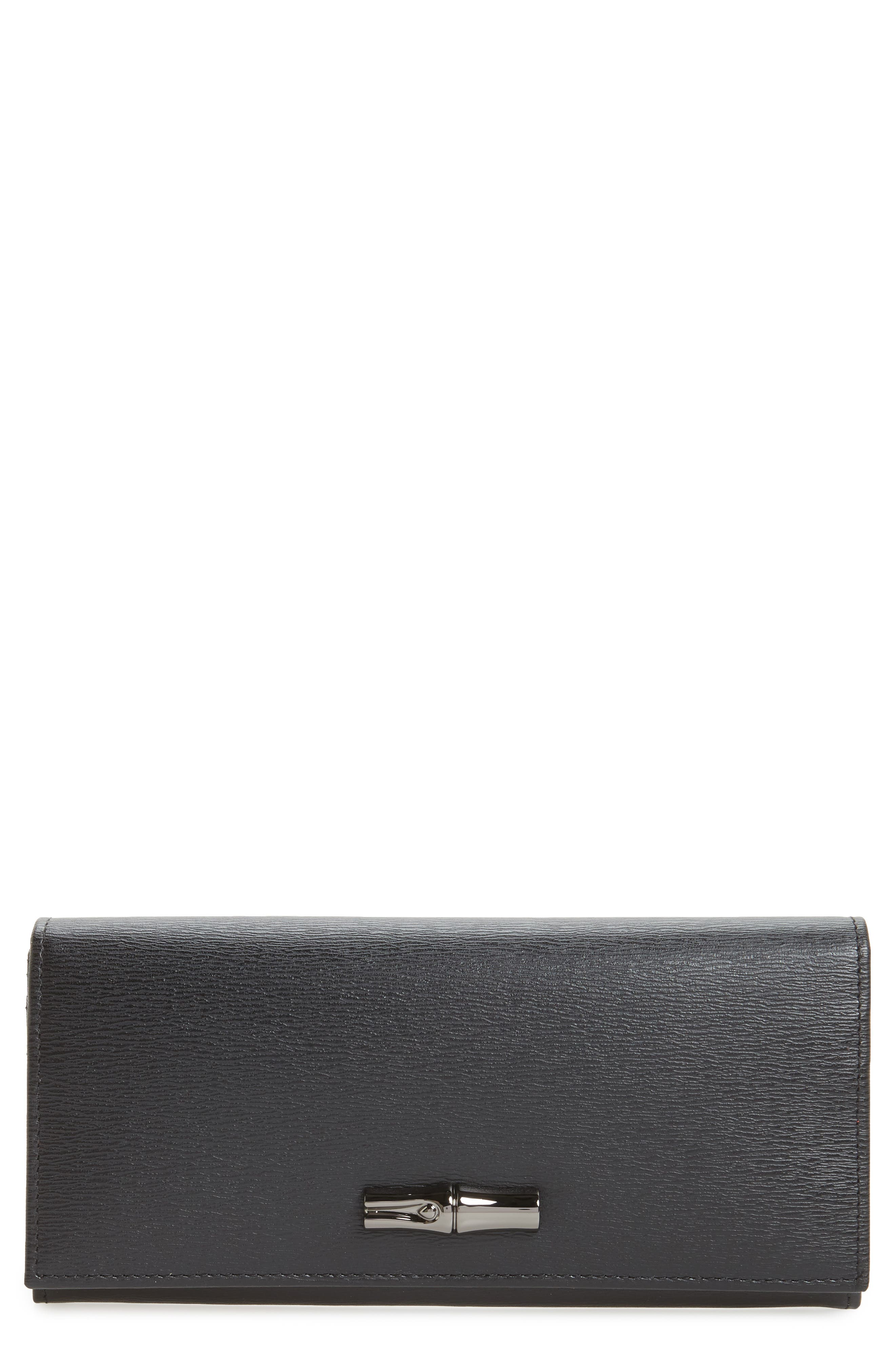 Roseau Leather Continental Wallet,                             Main thumbnail 1, color,                             002