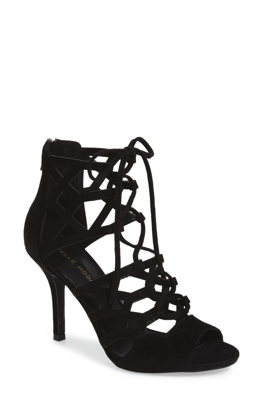 'Eva' Ghillie Lace Sandal,                         Main,                         color, 001