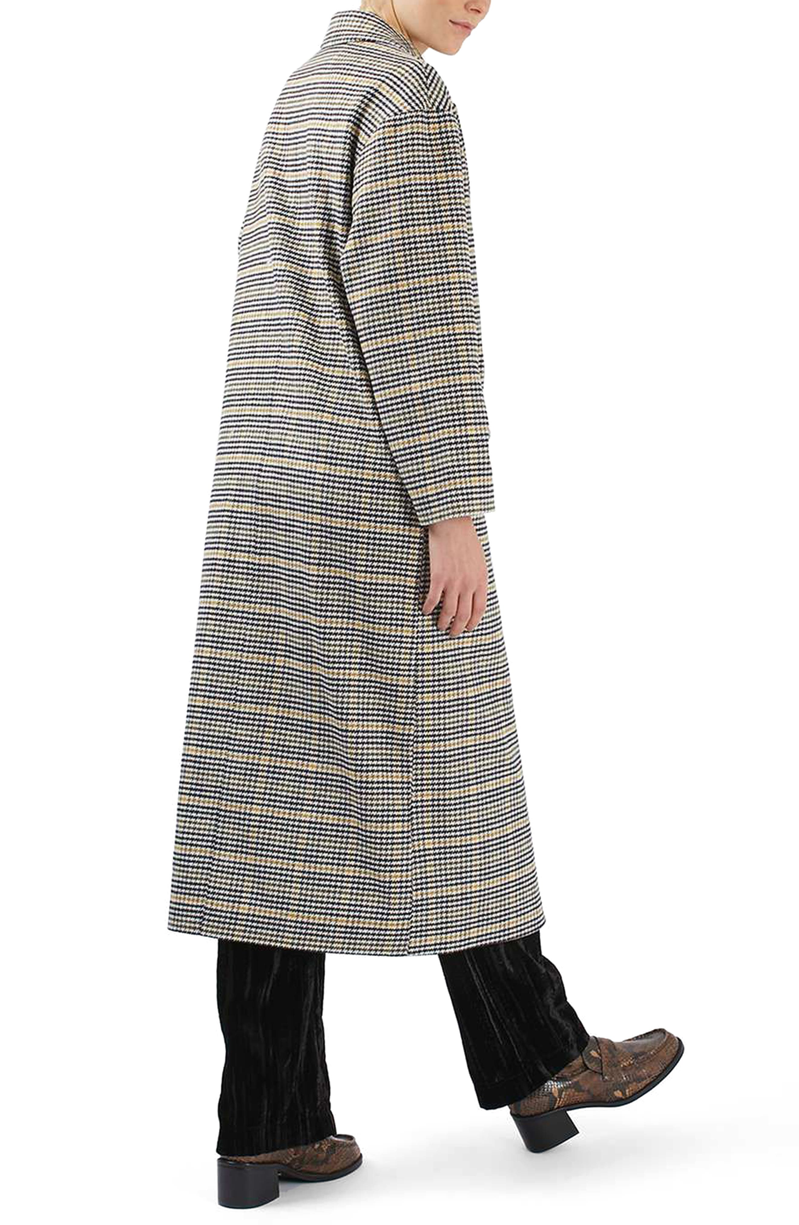 TOPSHOP,                             Heritage Check Coat,                             Alternate thumbnail 2, color,                             001