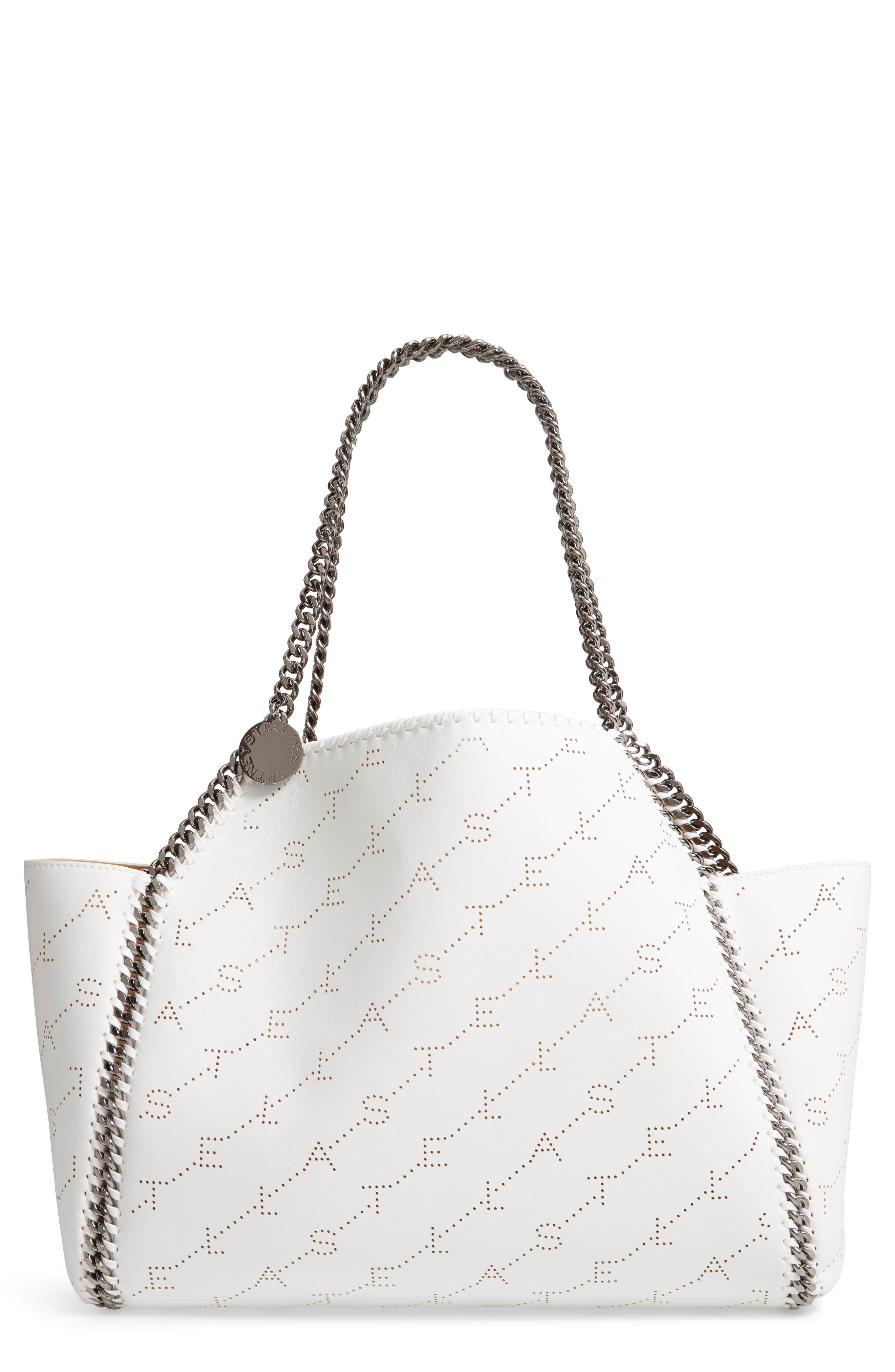Falabella Faux Leather Monogrammed Dual Tote Bag in Optical White