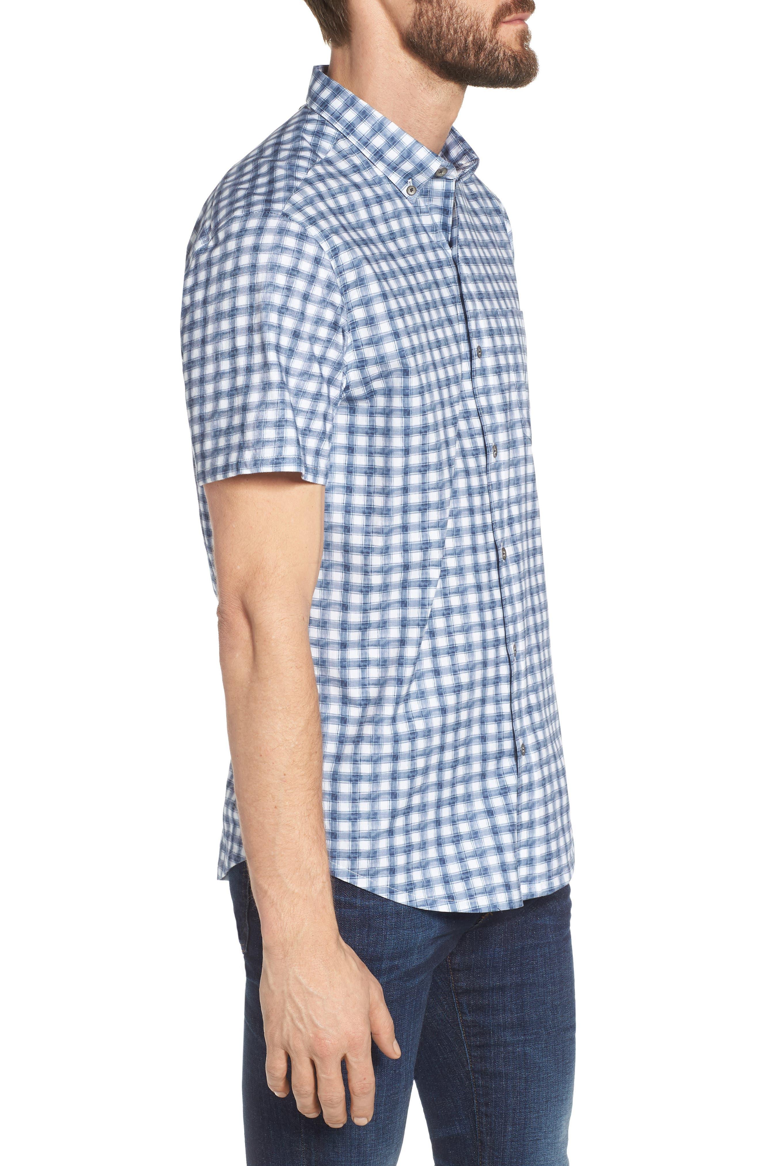 Watercolor Slim Fit Stretch Short Sleeve Sport Shirt,                             Alternate thumbnail 3, color,                             020