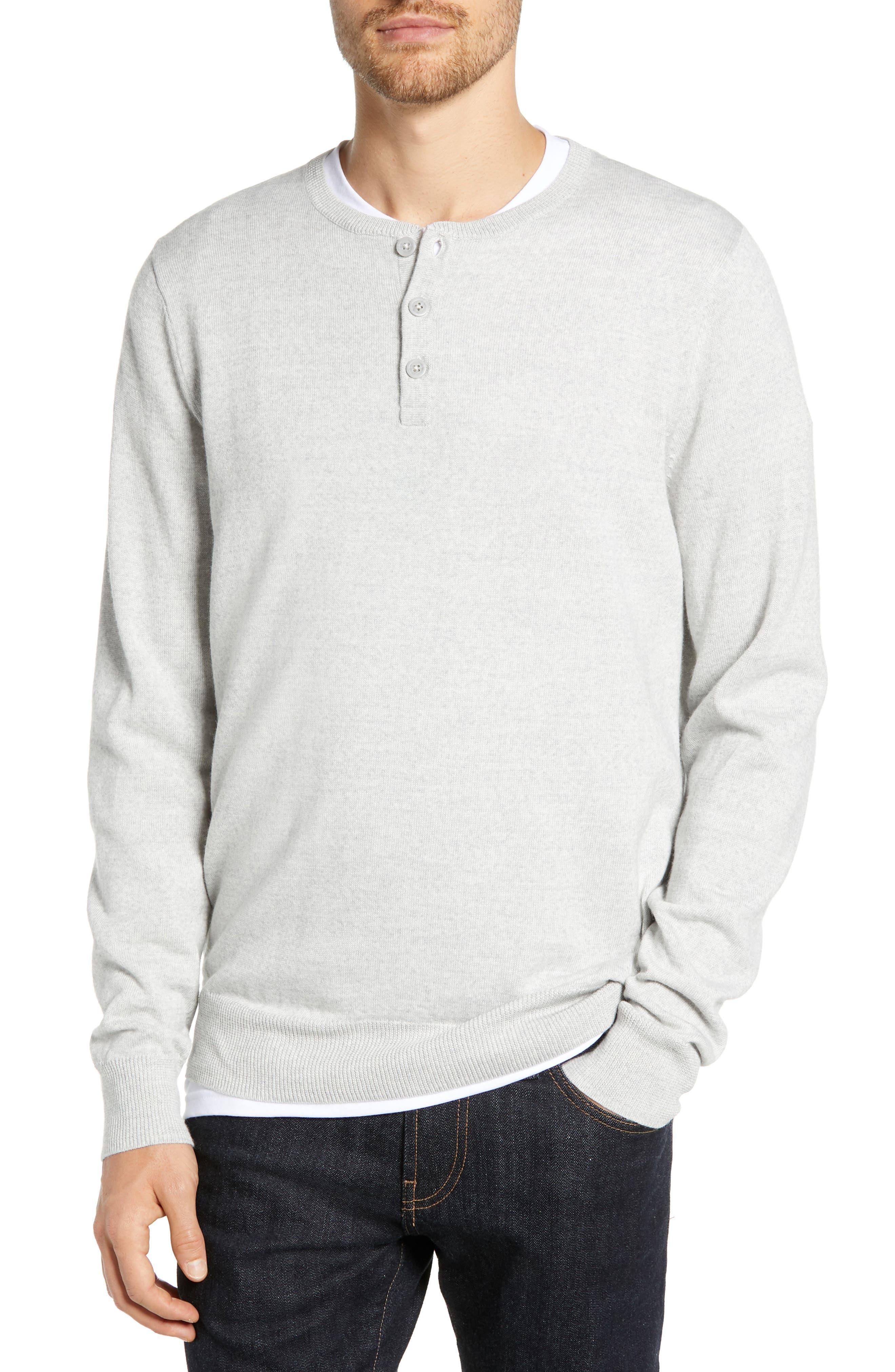 Nordstrom Shop Regular Fit Wool Blend Henley Sweater, Grey