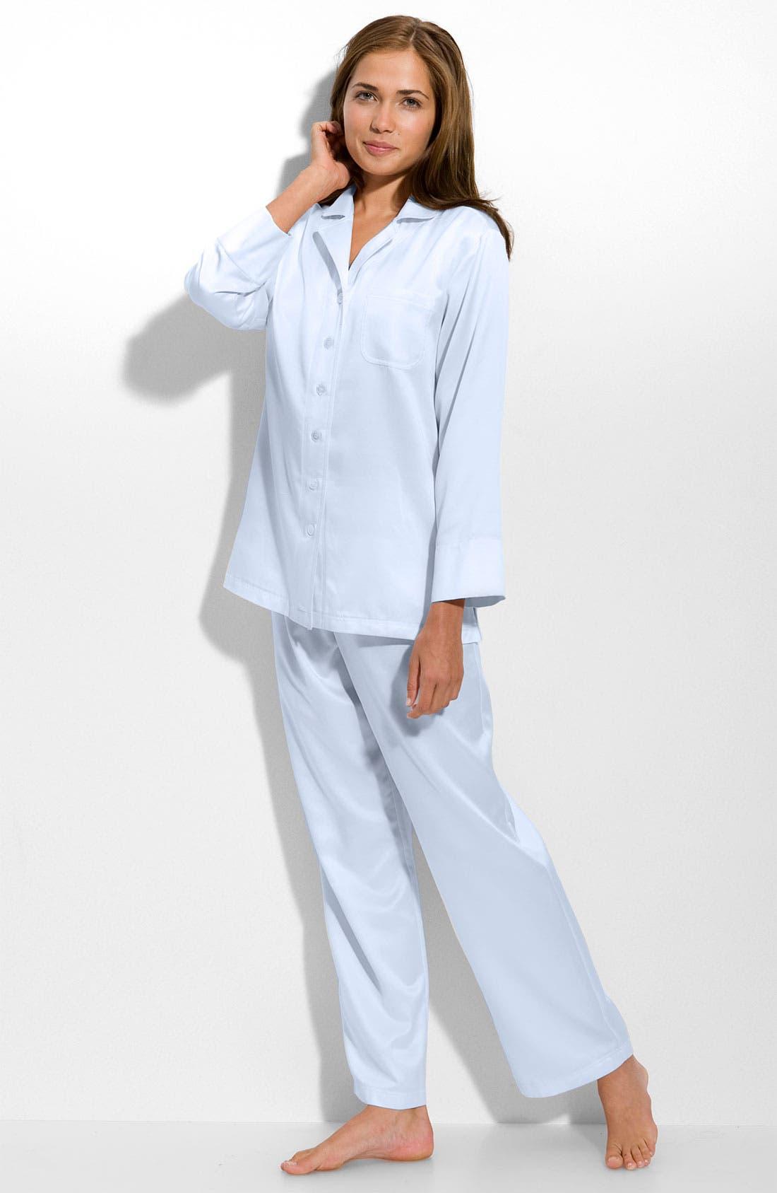 CAROLE HOCHMAN,                             Brushed Back Satin Pajamas,                             Main thumbnail 1, color,                             451