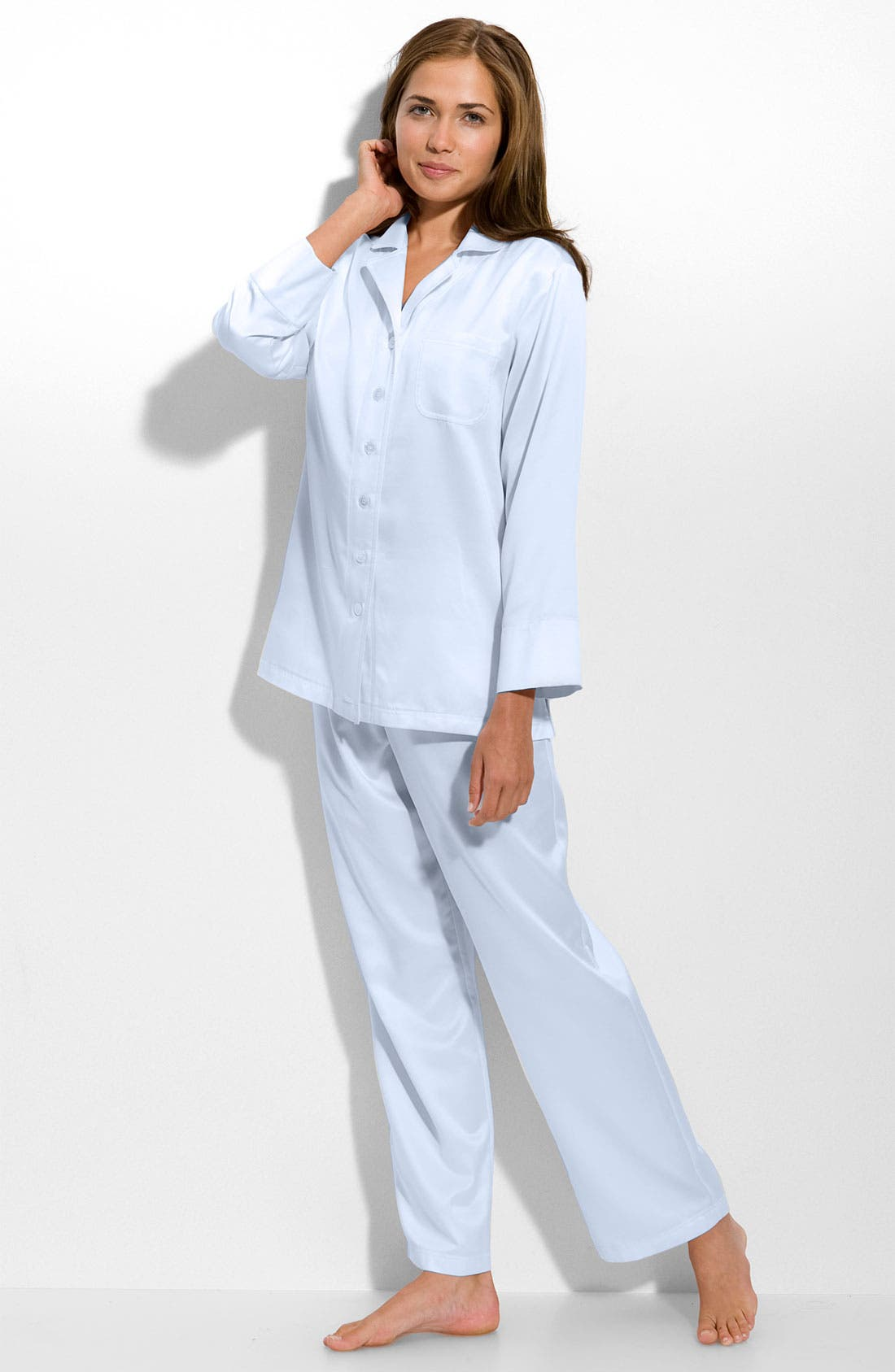 CAROLE HOCHMAN Brushed Back Satin Pajamas, Main, color, 451