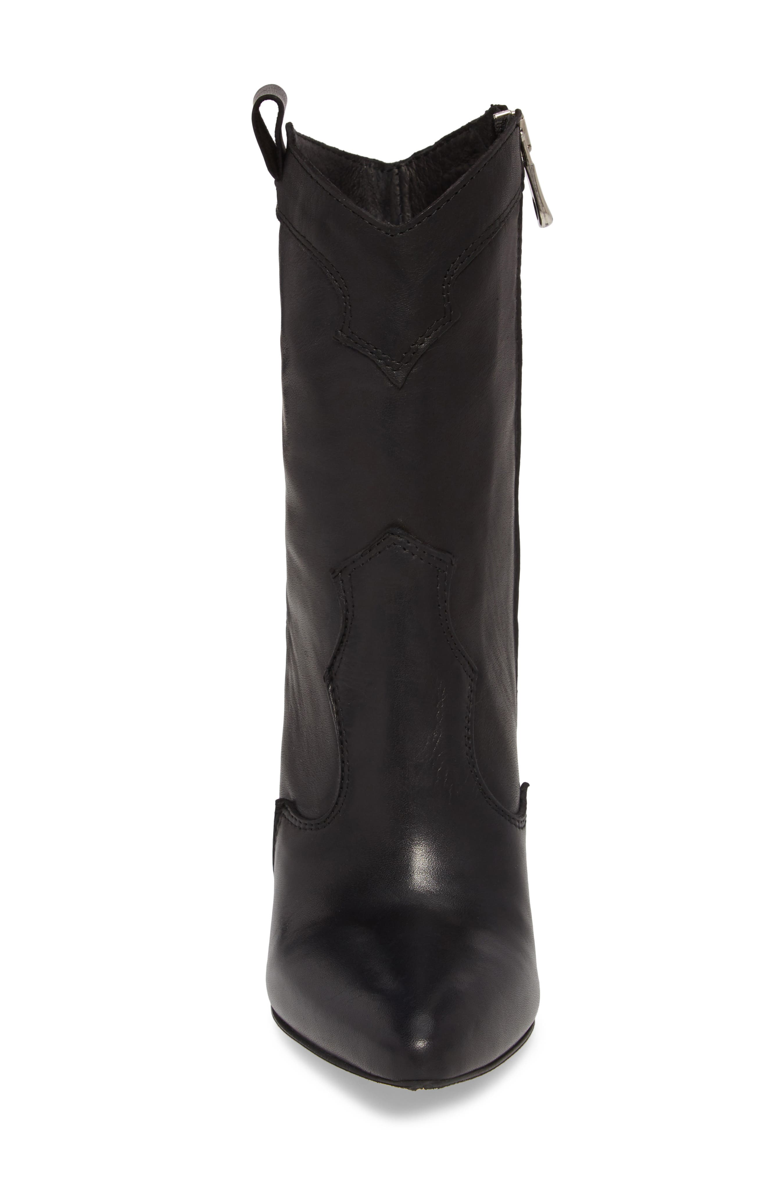 Kimberly Western Bootie,                             Alternate thumbnail 4, color,                             BLACK LEATHER