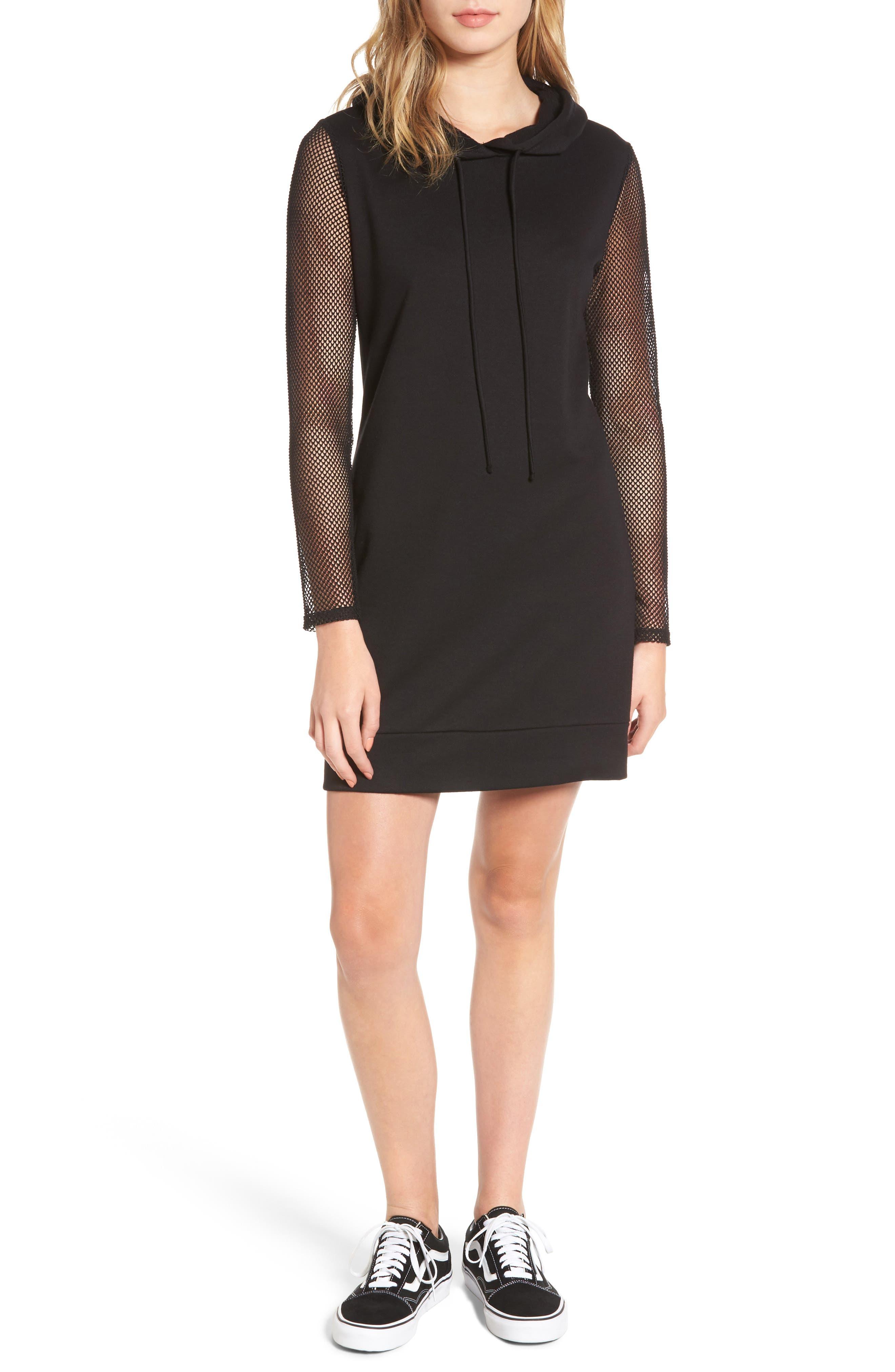 Mesh Sleeve Hoodie Dress,                         Main,                         color, 001