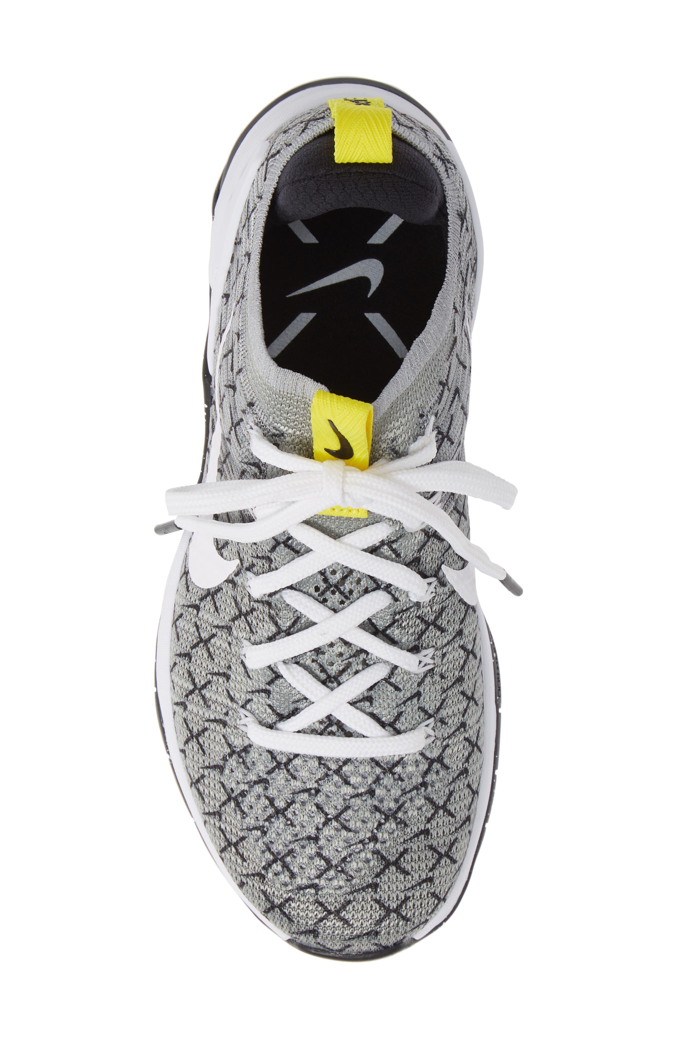 Metcon DSX Flyknit 2 Training Shoe,                             Alternate thumbnail 5, color,                             BLACK/ WHITE/ DYNAMIC YELLOW