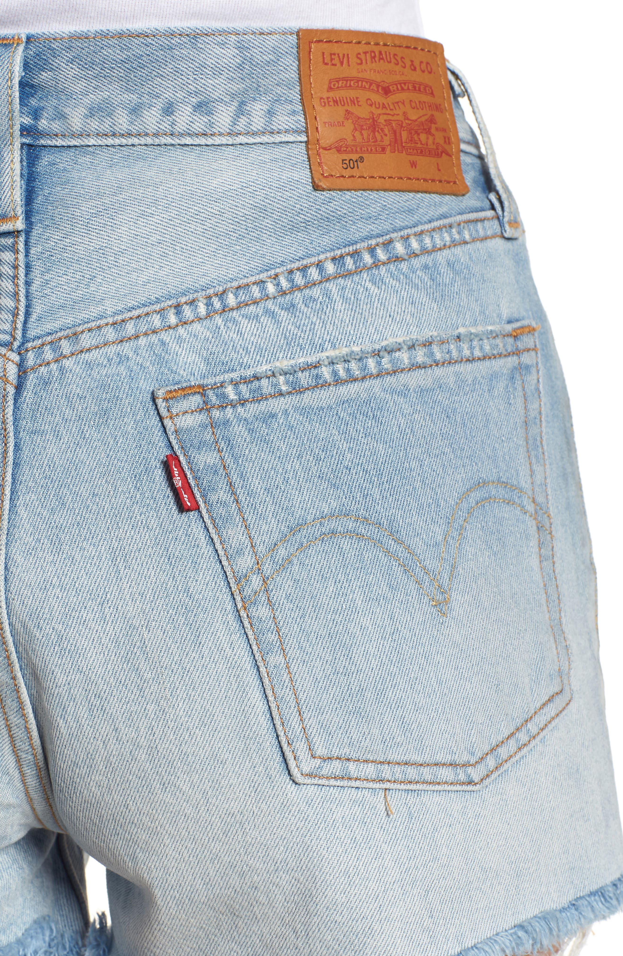 501<sup>®</sup> High Waist Denim Shorts,                             Alternate thumbnail 4, color,                             451