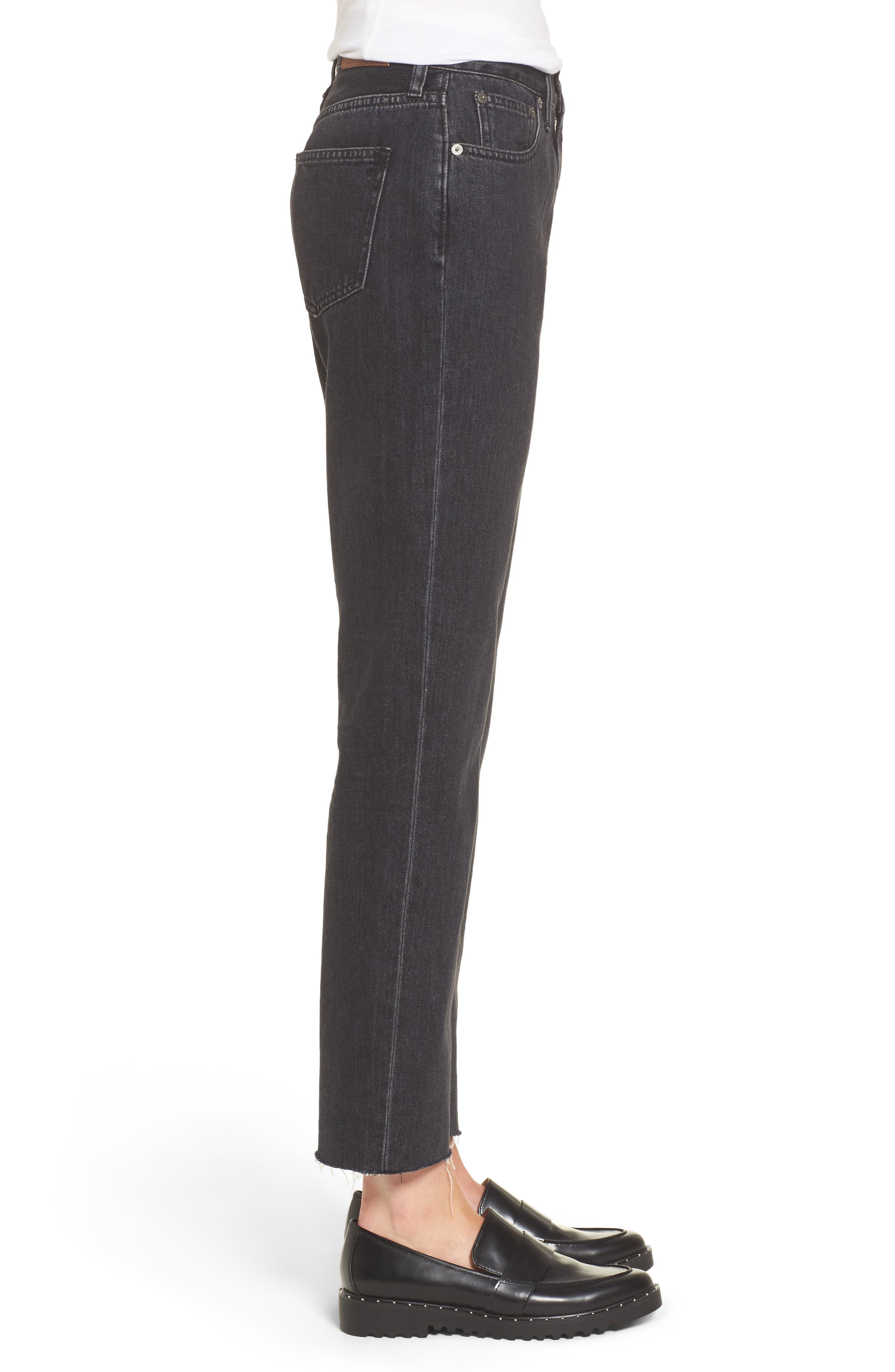 The Perfect Summer 11-Inch High Waist Ankle Straight Leg Jeans,                             Alternate thumbnail 4, color,                             009