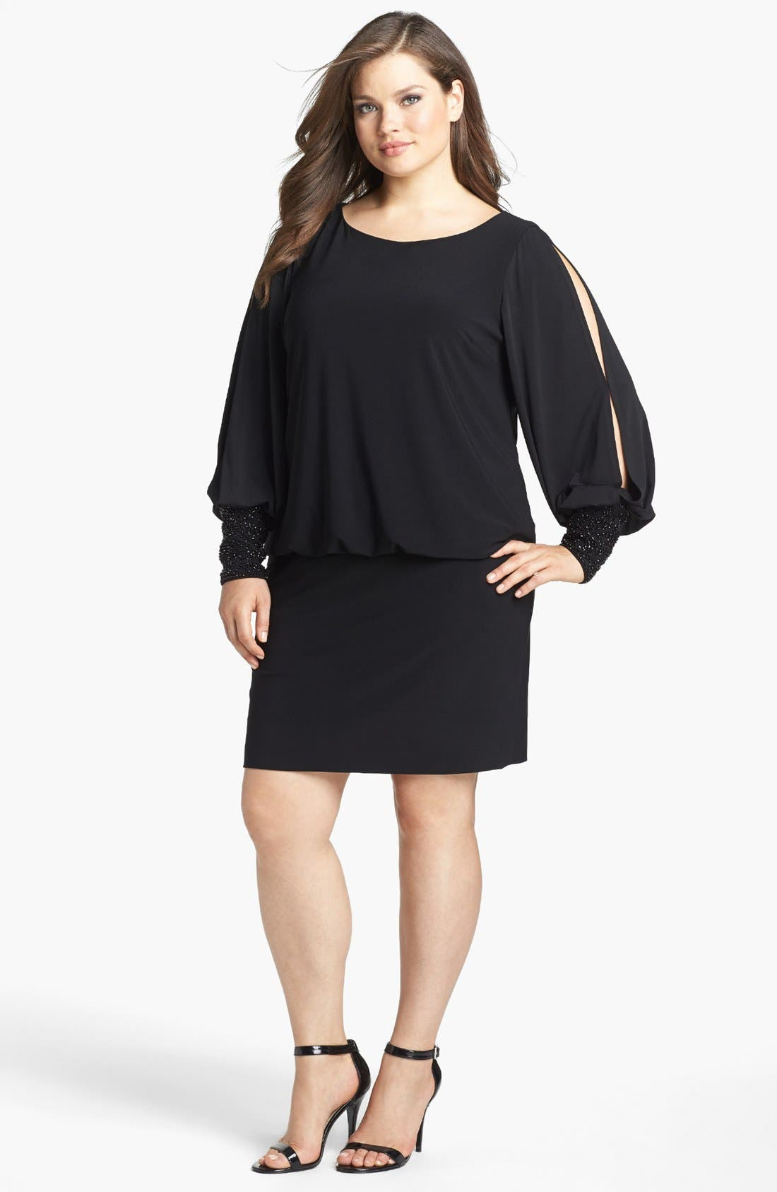 Embellished Cuff Blouson Jersey Dress,                             Alternate thumbnail 9, color,                             BLACK