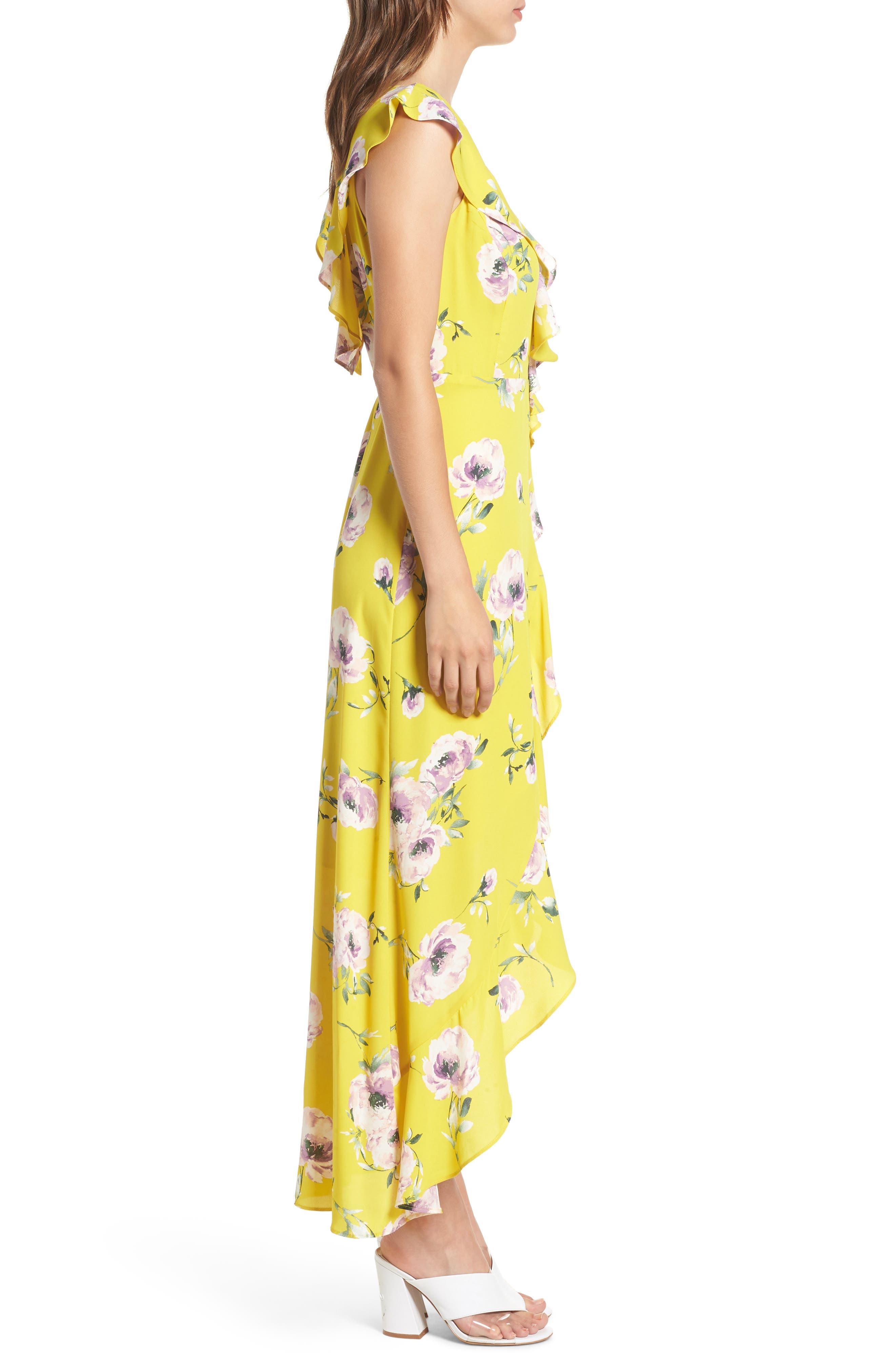 Ruffle Wrap Maxi Dress,                             Alternate thumbnail 3, color,                             YELLOW TEA BLOOM FLORAL