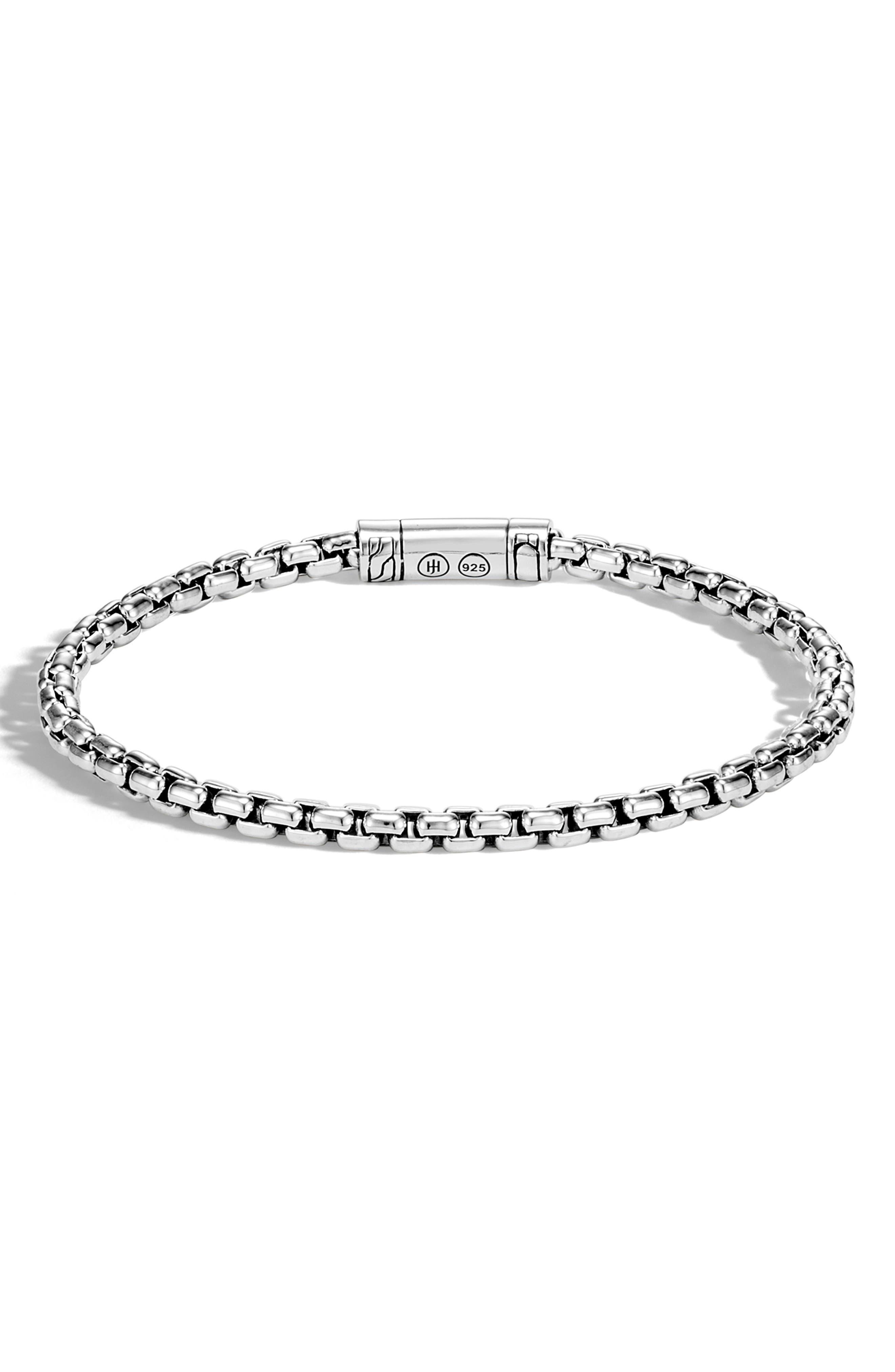 Men's Classic Sterling Silver Box Chain Bracelet,                             Main thumbnail 1, color,                             SILVER