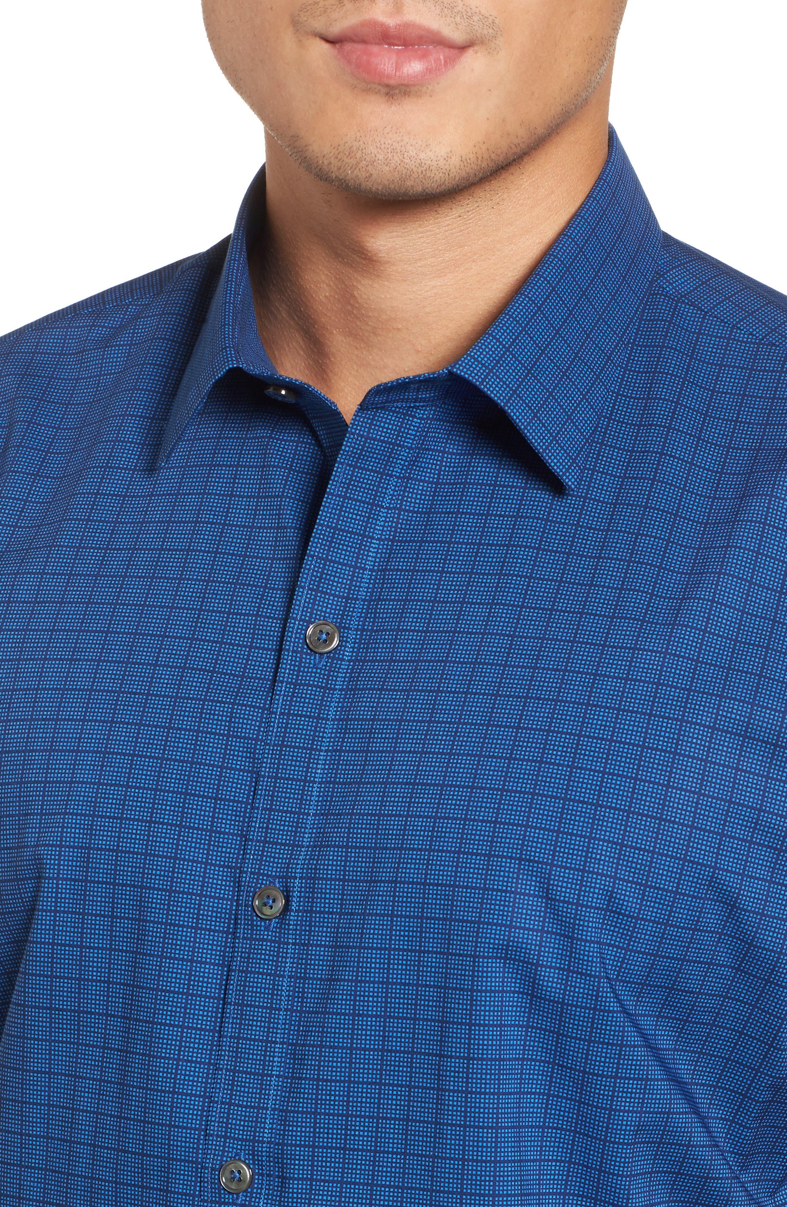 Harper Regular Fit Tile Print Sport Shirt,                             Alternate thumbnail 4, color,                             NAVY