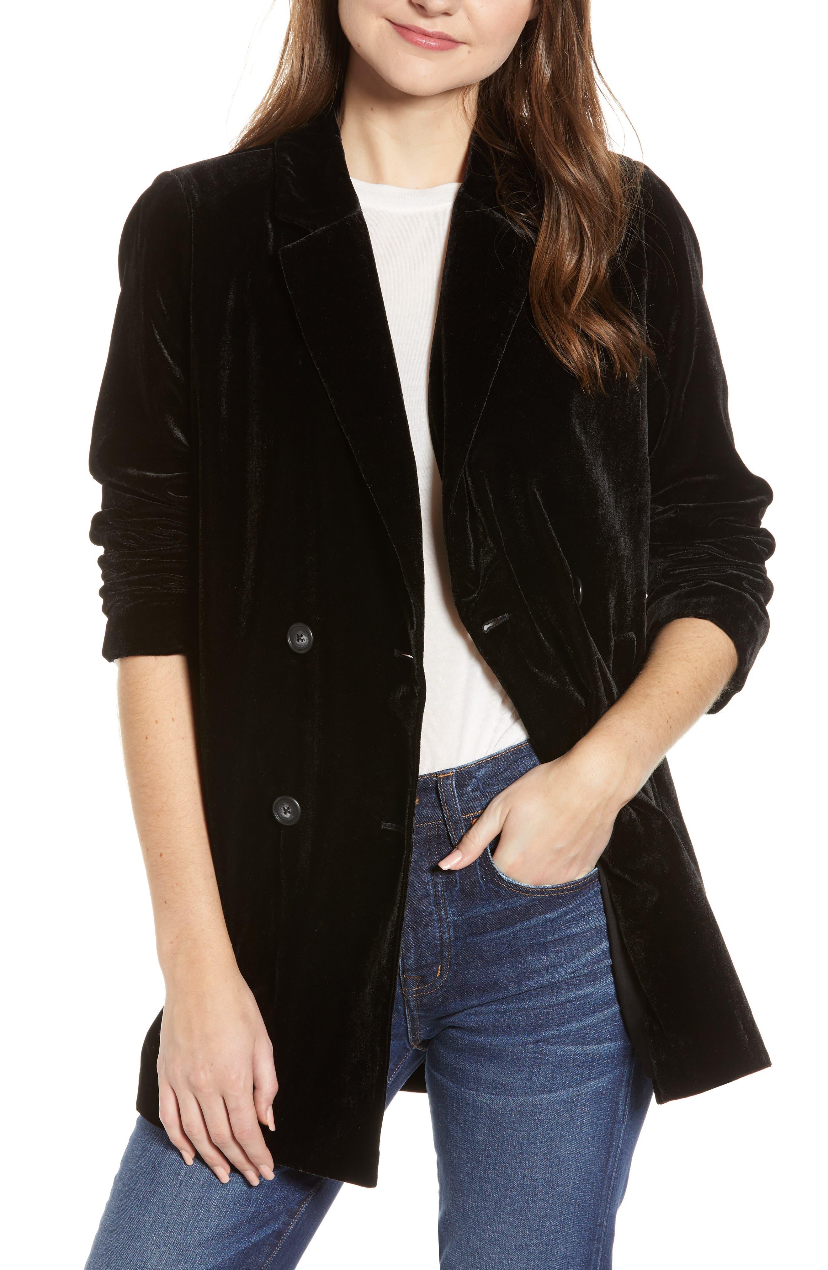 Caldwell Velvet Double Breasted Blazer,                         Main,                         color, BLACK