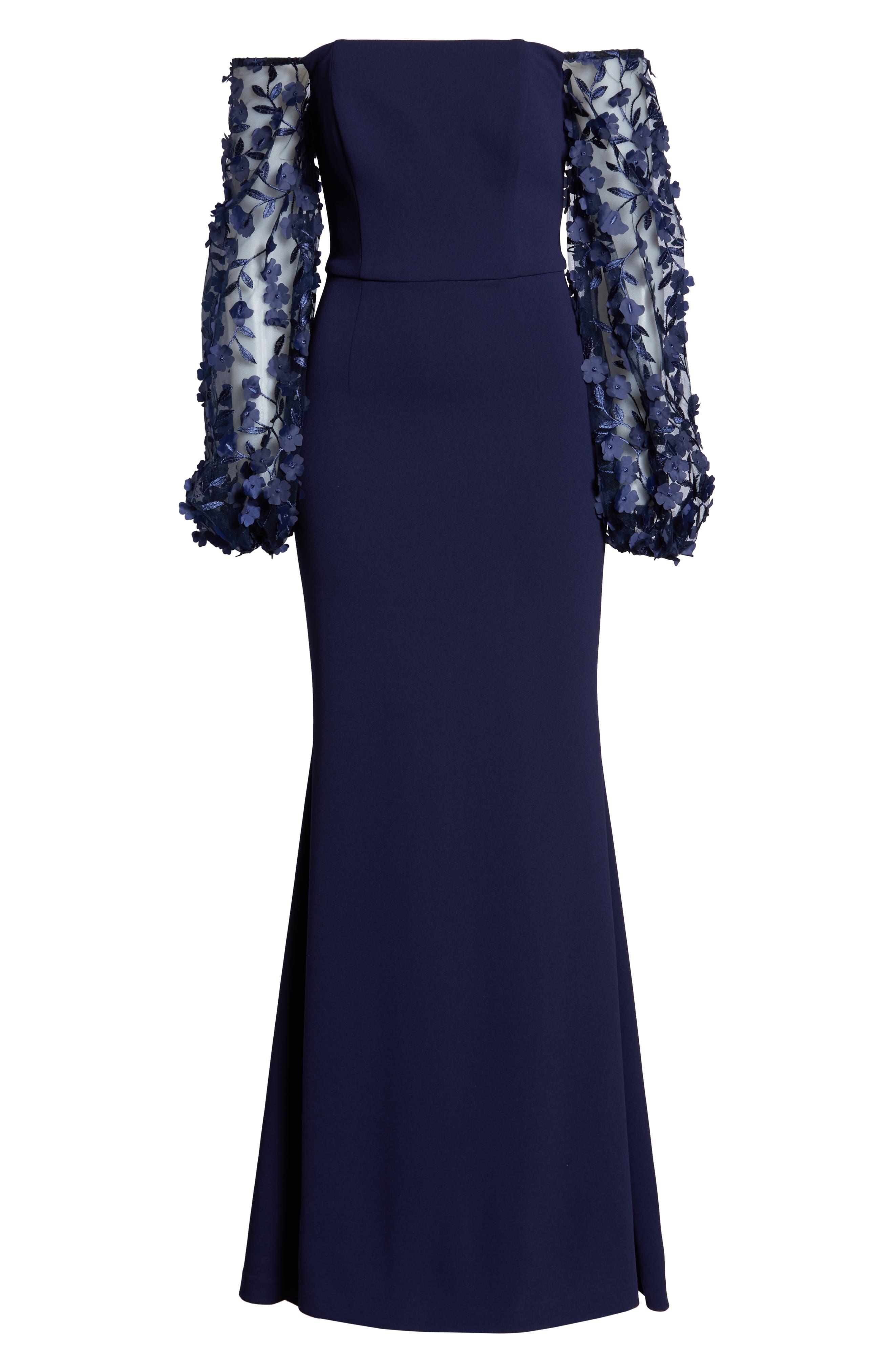 ELIZA J,                             Off the Shoulder 3D Floral Sleeve Scuba Crepe Evening Dress,                             Alternate thumbnail 7, color,                             NAVY