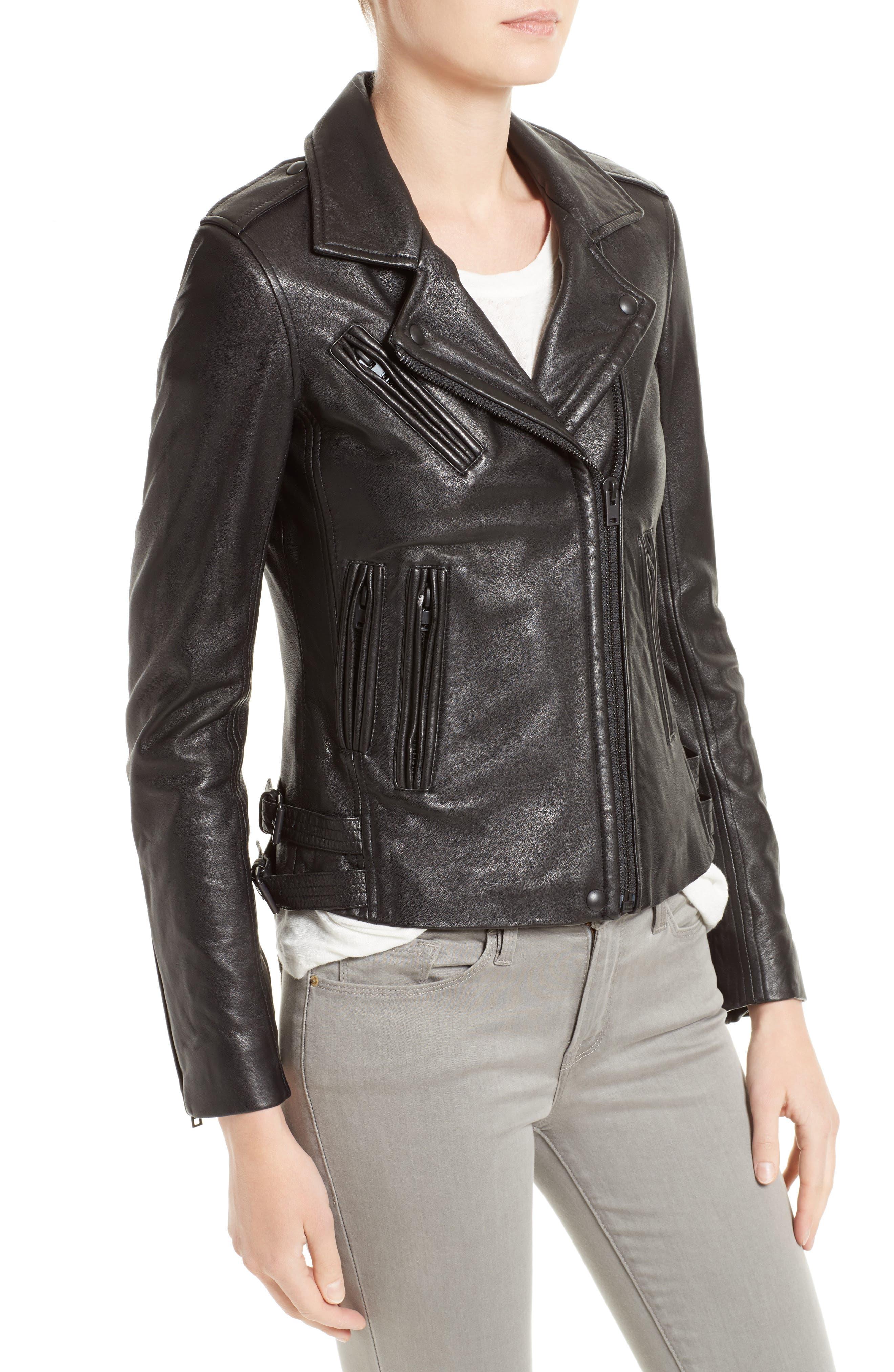 'Han' Lambskin Leather Moto Jacket,                             Alternate thumbnail 4, color,                             BLACK/ BLACK