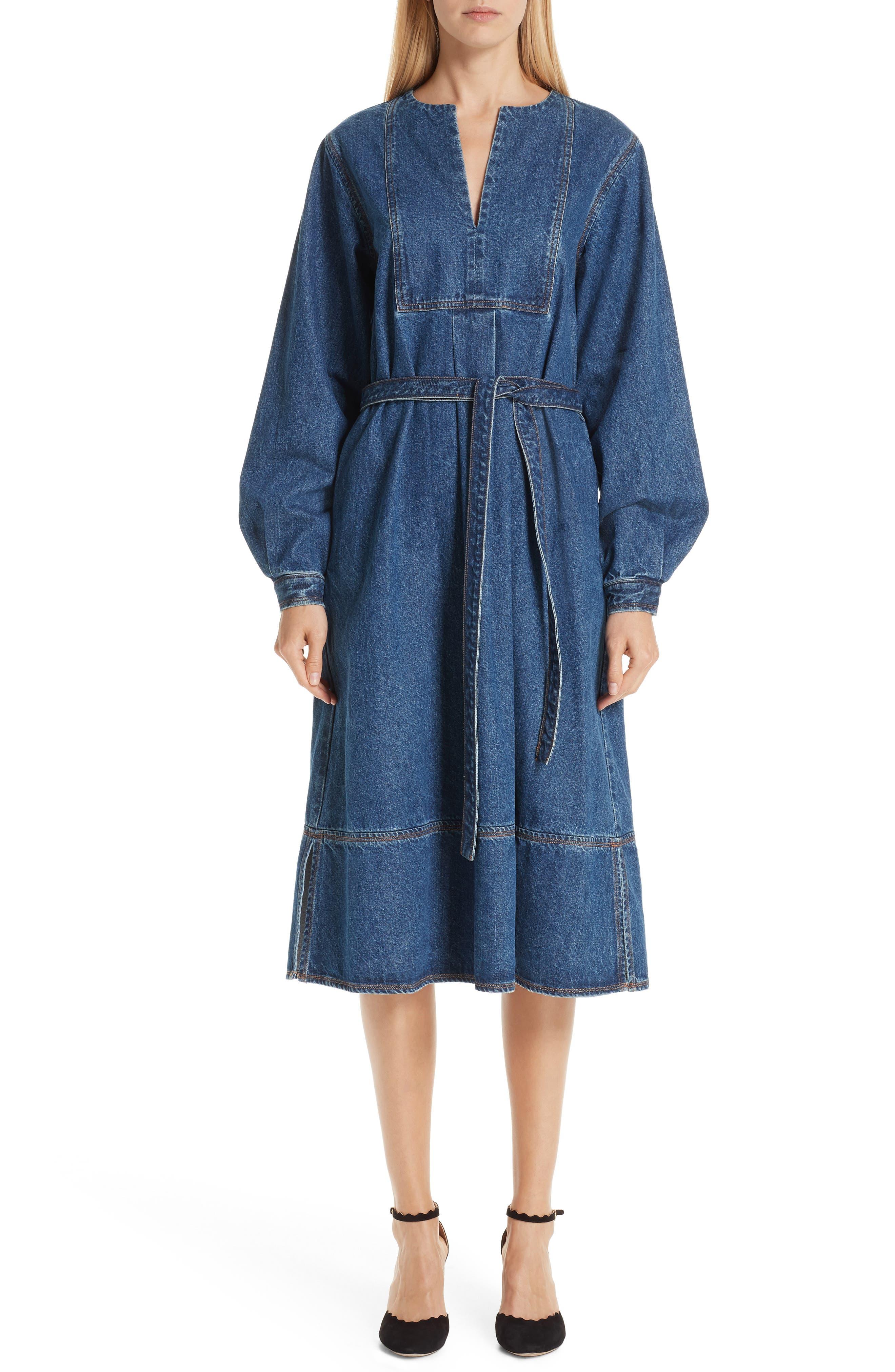 Denim A-Line Dress,                             Main thumbnail 1, color,                             INDIGO